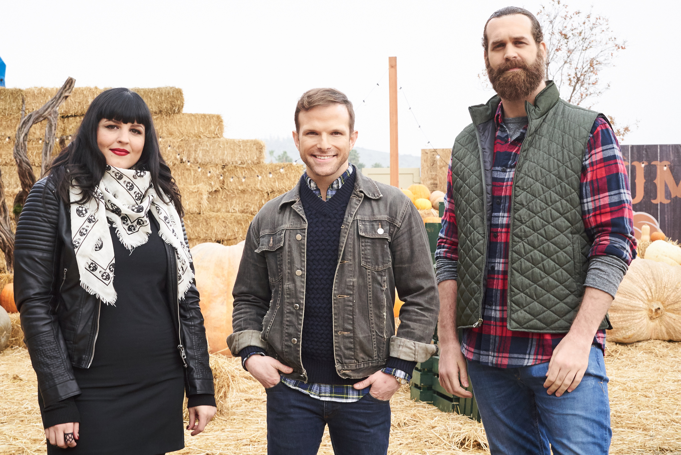 Judges Bianca Appice and Zac Young with host Harley Morenstein Food Network's Halloween Wars: Hayride of Horror