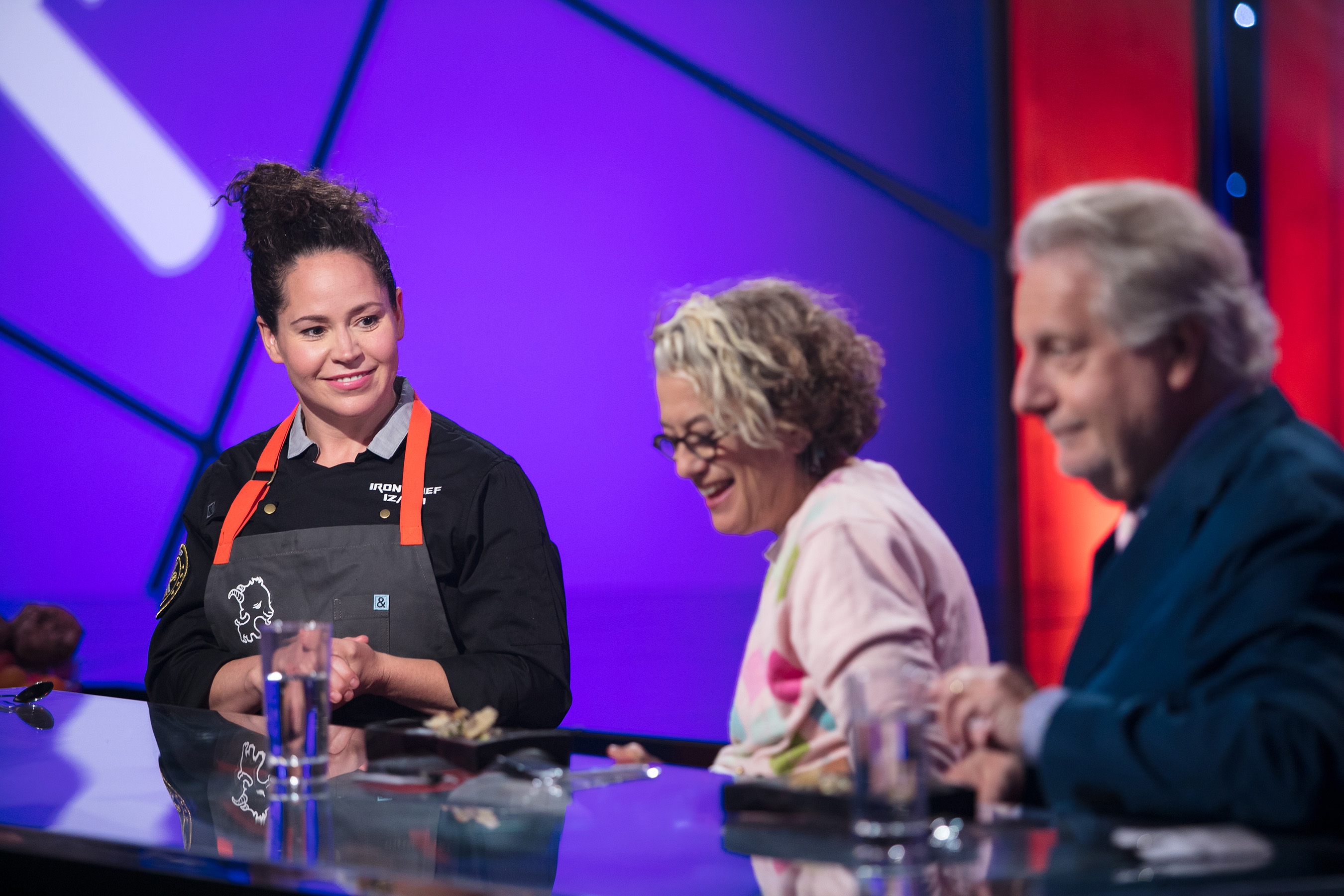 Iron Chef Stephanie Izard and guest judges Susan Feniger and Jonathan Waxman.
