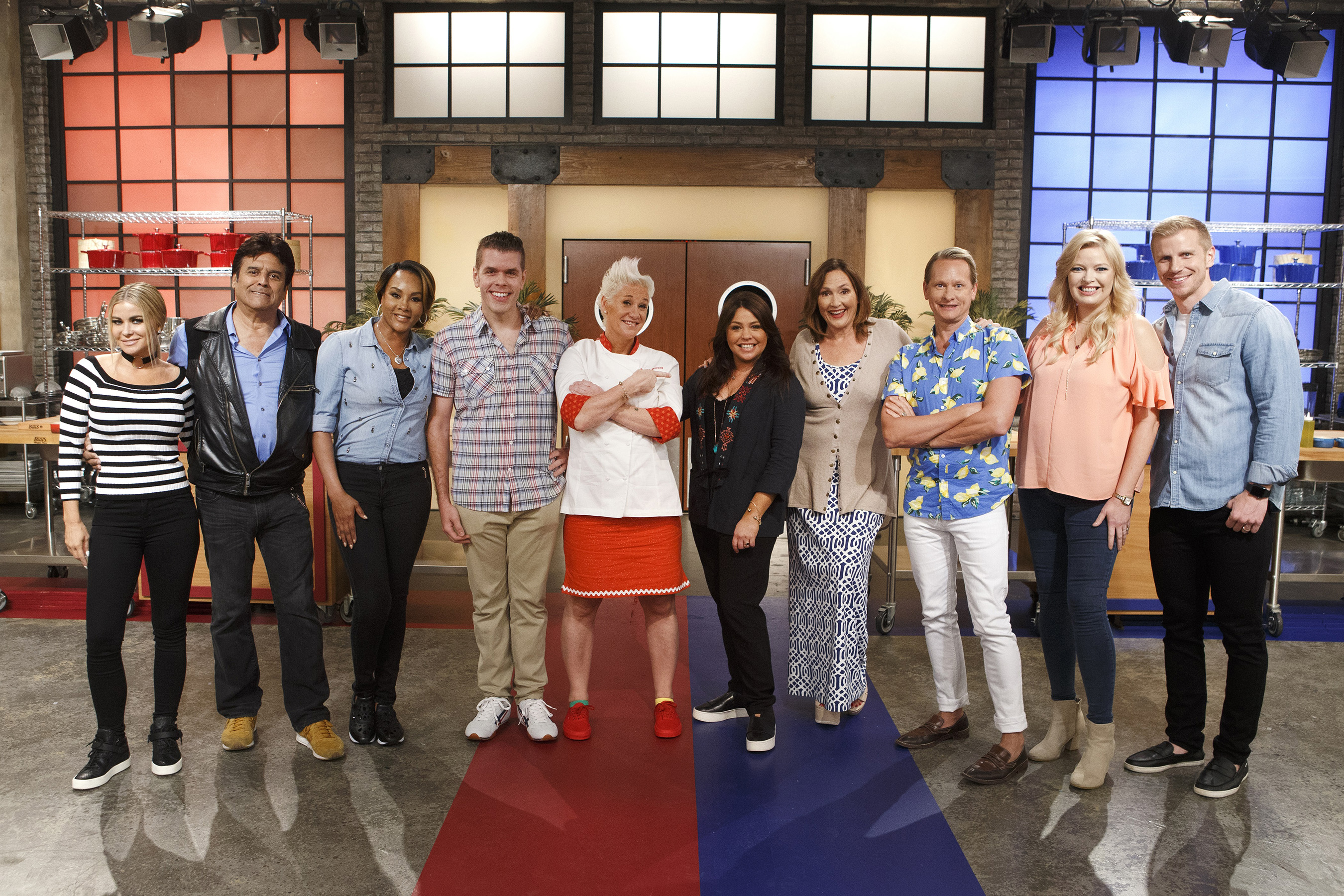 Anne Burrell and Rachael Ray pose with the celebrity competitors on Food Network's Worst Cooks in America