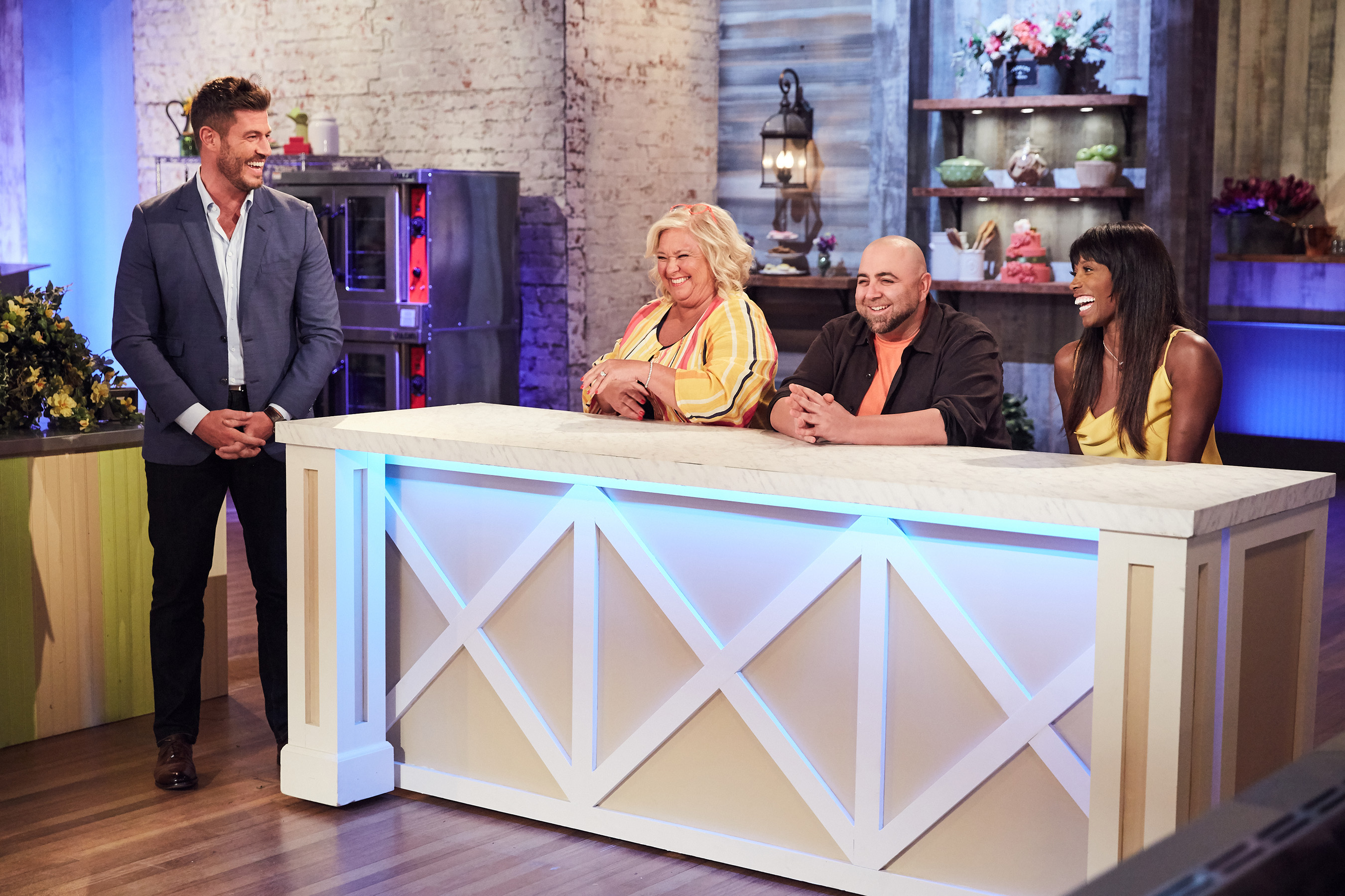 Host Jesse Palmer with judges Nancy Fuller, Duff Goldman and Lorraine Pascale on Food Network's Spring Baking Championship