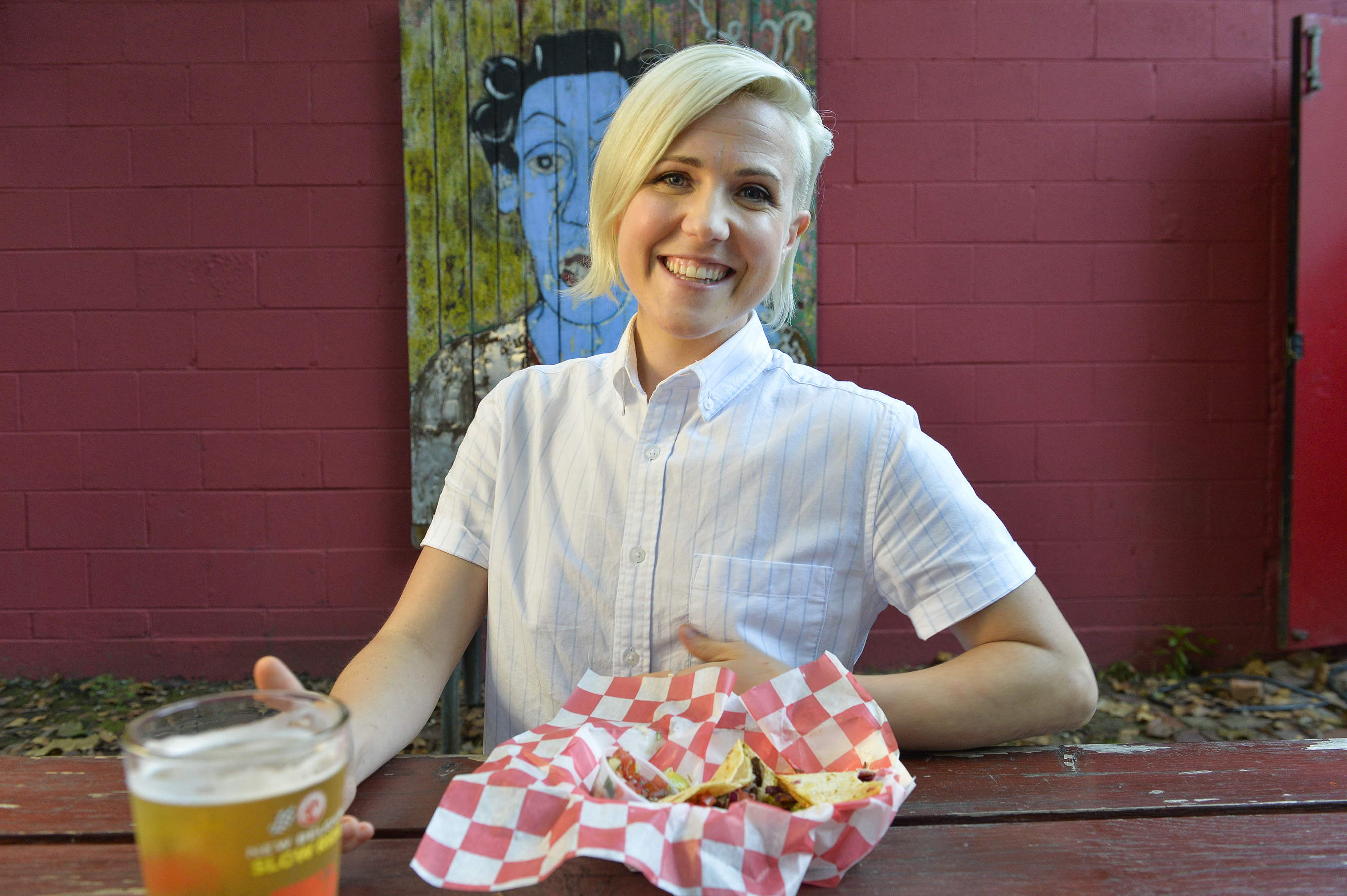Hannah Hart at The Grey Eagle in Asheville, North Carolina, on Food Network's I Hart Food