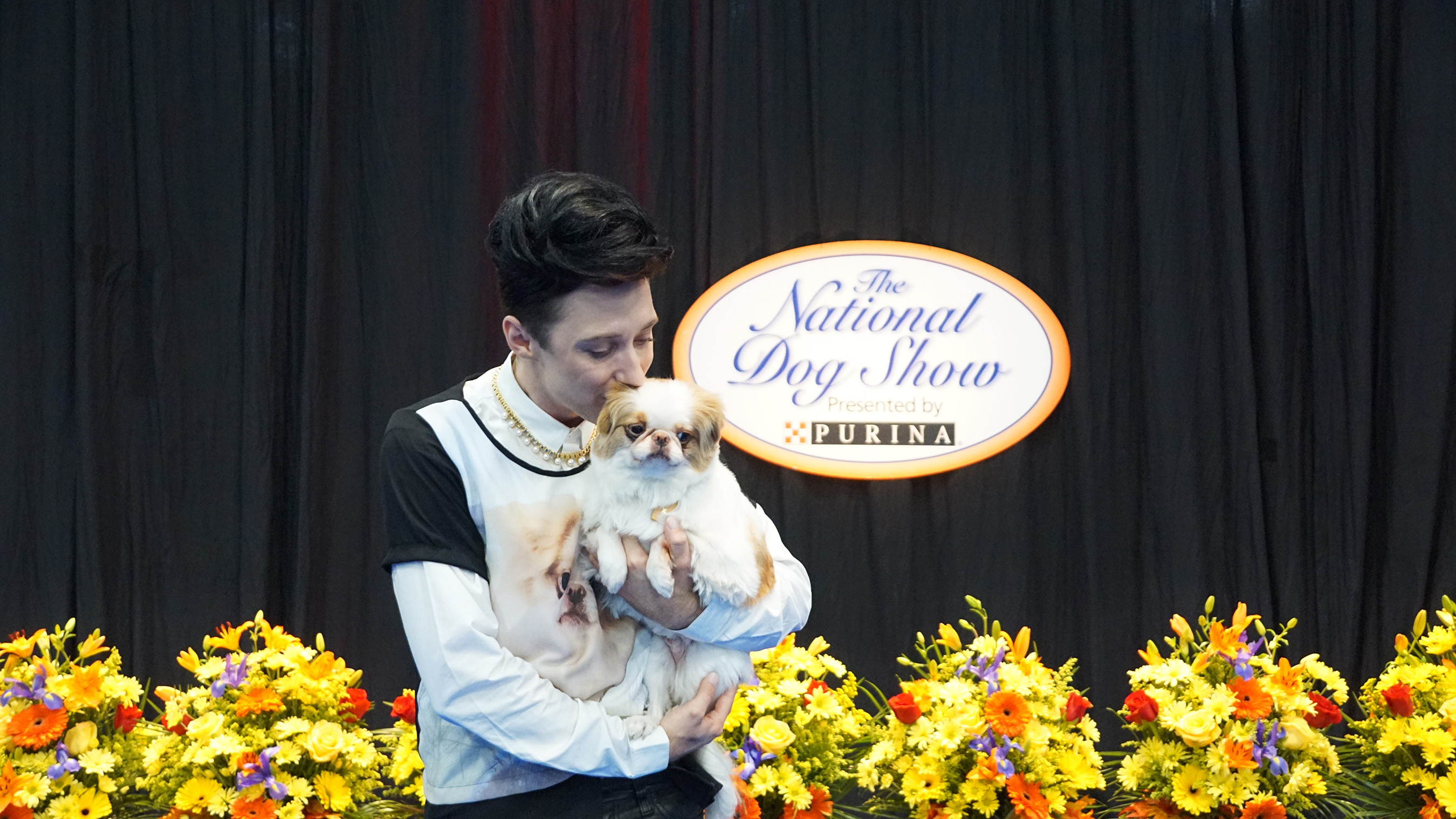 Johnny Weir and his adorable Japanese Chin, Tema, are ready for #DogThanking and the National Dog Show Presented by Purina!