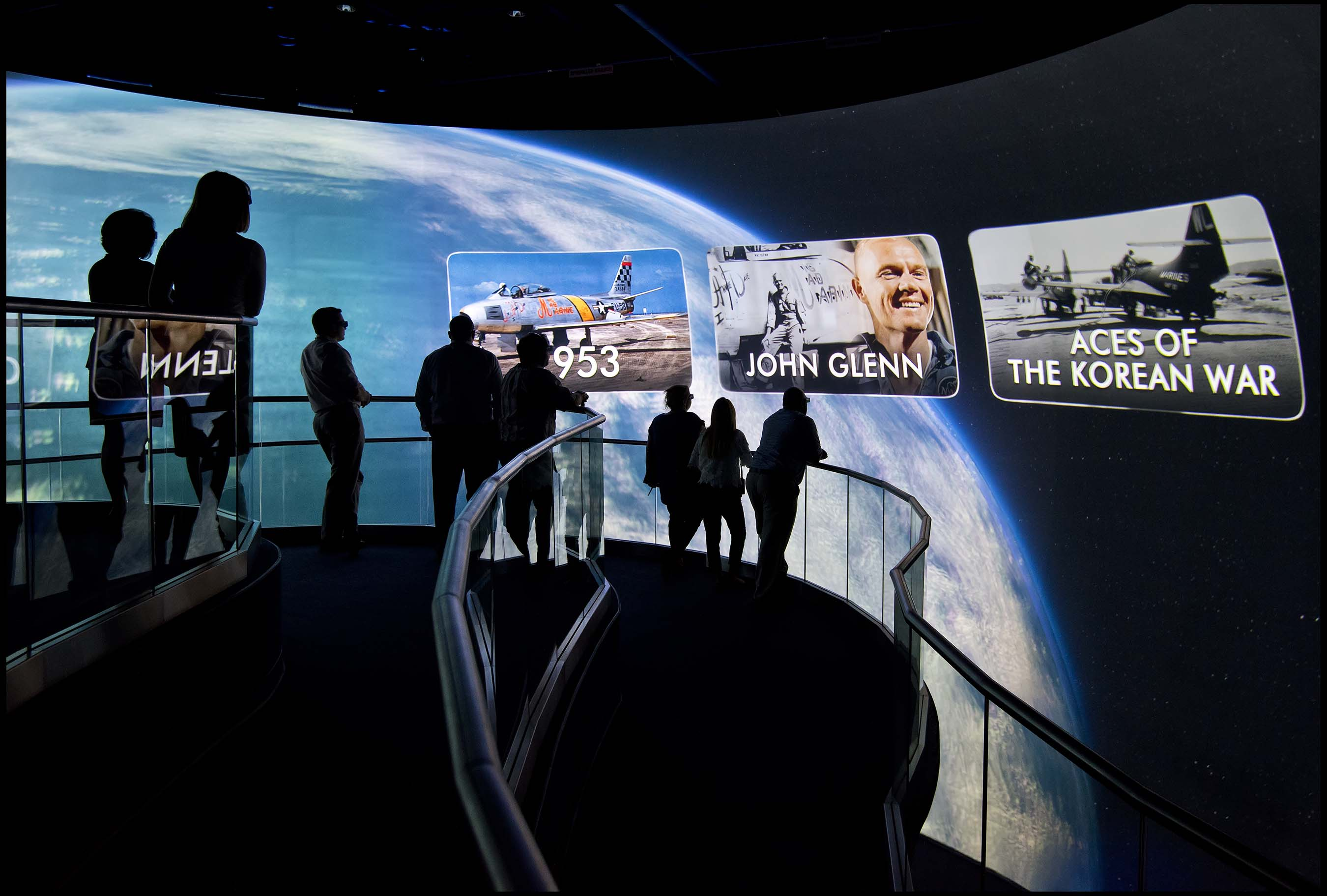 Through the Eyes of a Hero is a custom-built theater featuring a multisensory 4-D experience during which guests vicariously join NASA's heroes and legends on the most perilous stages of their missions.