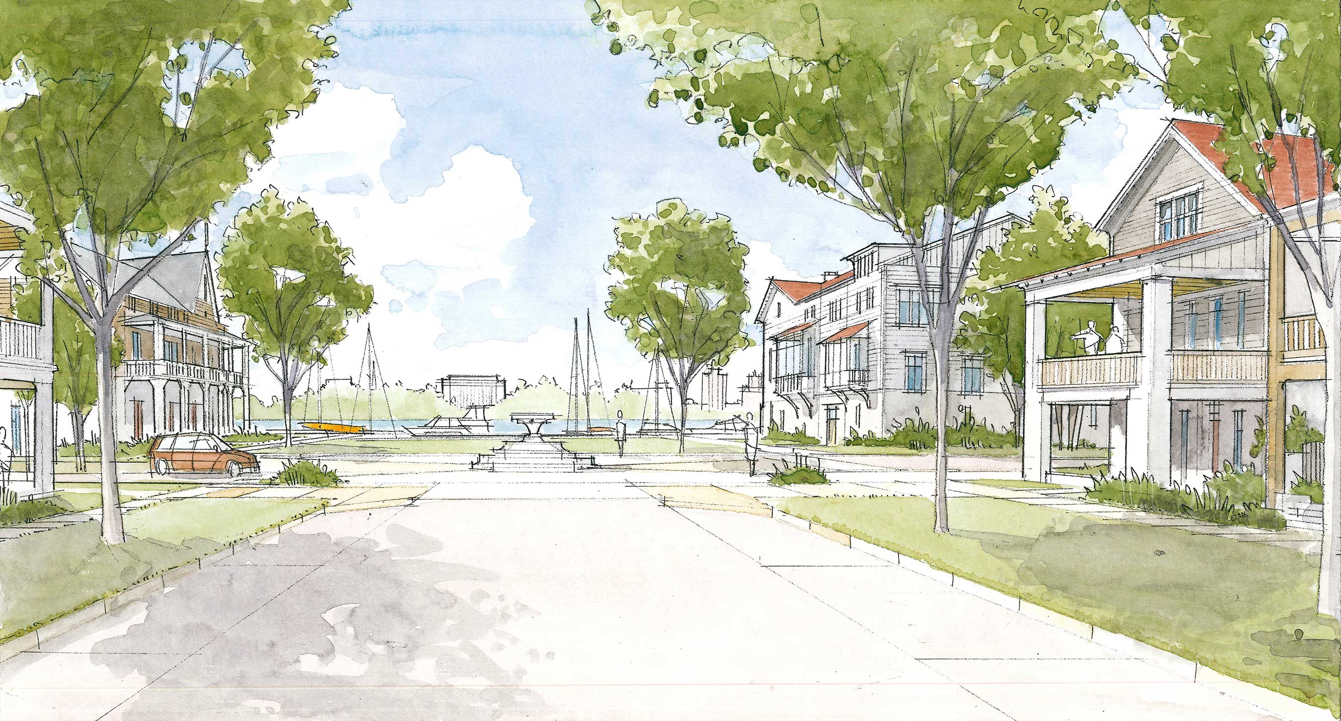 Harbor Village has been designed to foster a strong sense of community among residents, with deliberate interaction between the houses and streets, inviting front porches, and tree lined streets.