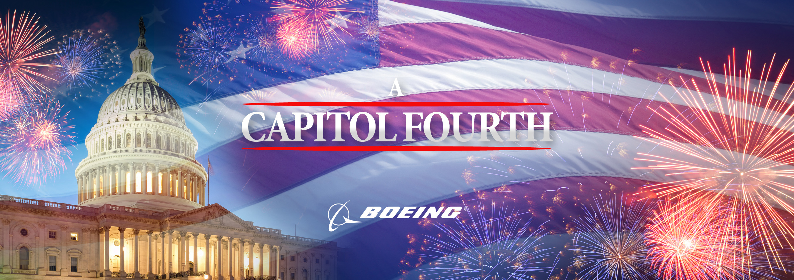 Fireworks at U.S. Capitol with A Capitol Fourth and Boeing logo overlayed