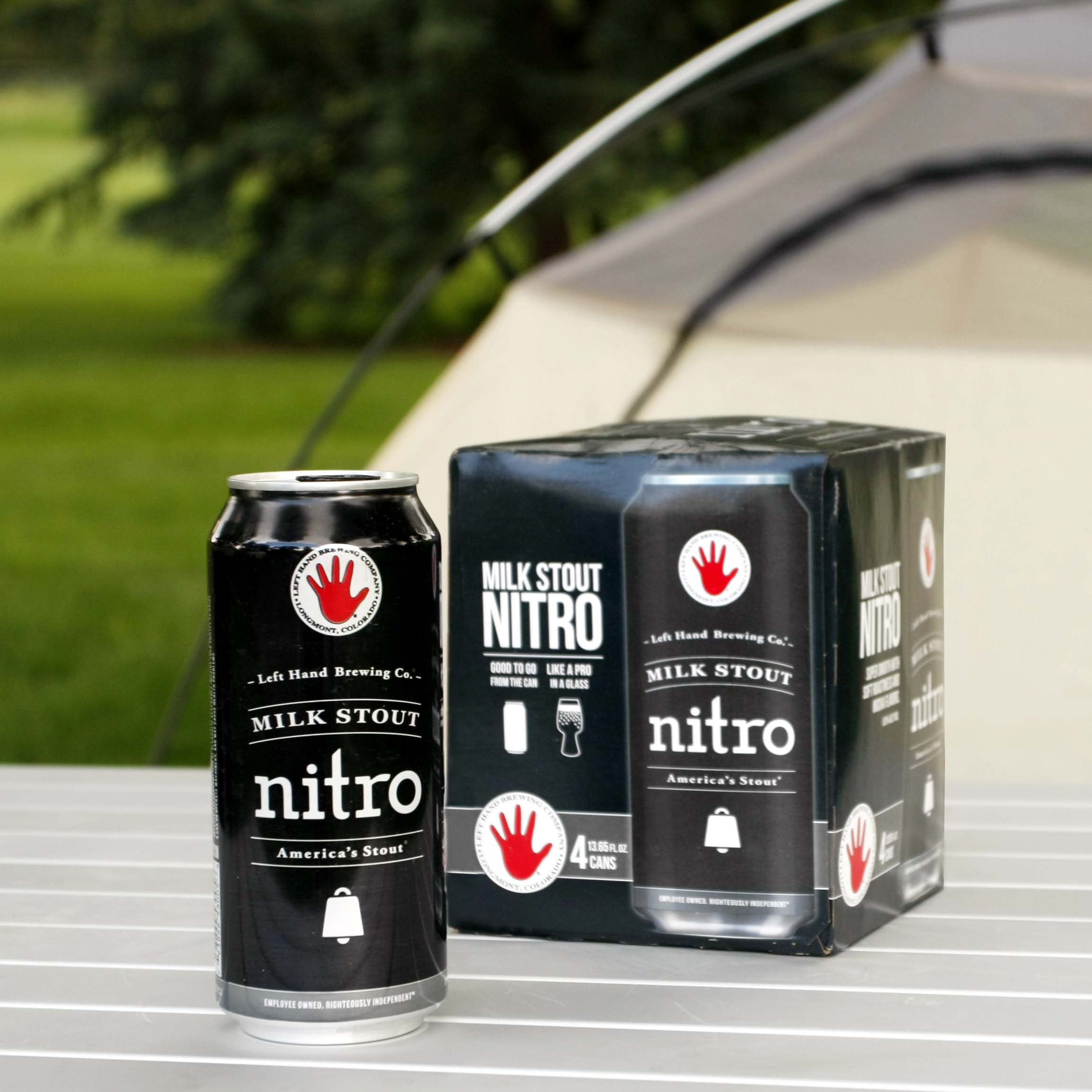 Left Hand Brewing Milk Stout Nitro Cans with Widget Inside Technology