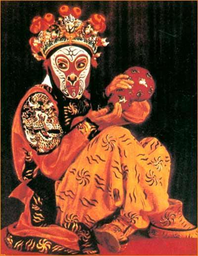 Chinese monkey drama actors painted with a monkey face, imitating the monkey's actions with body and eye.