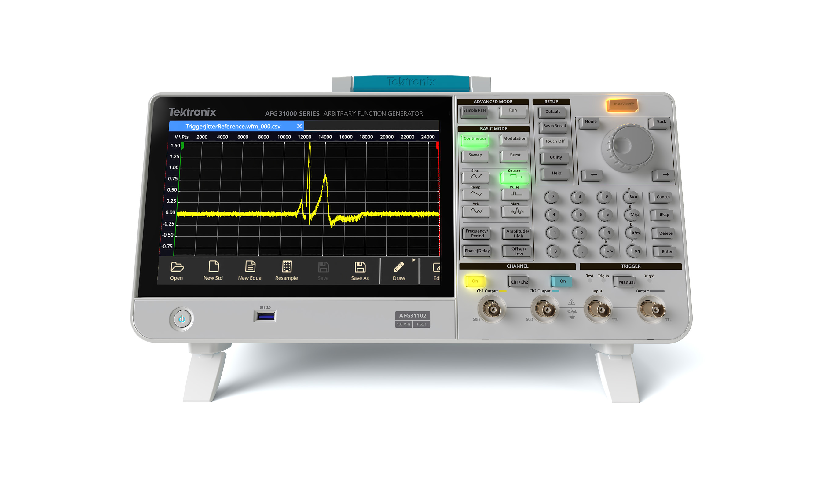 The AFG31000 Series is a high-performance AFG with built-in arbitrary waveform generation, real-time wave monitoring, and the largest screen on the market.