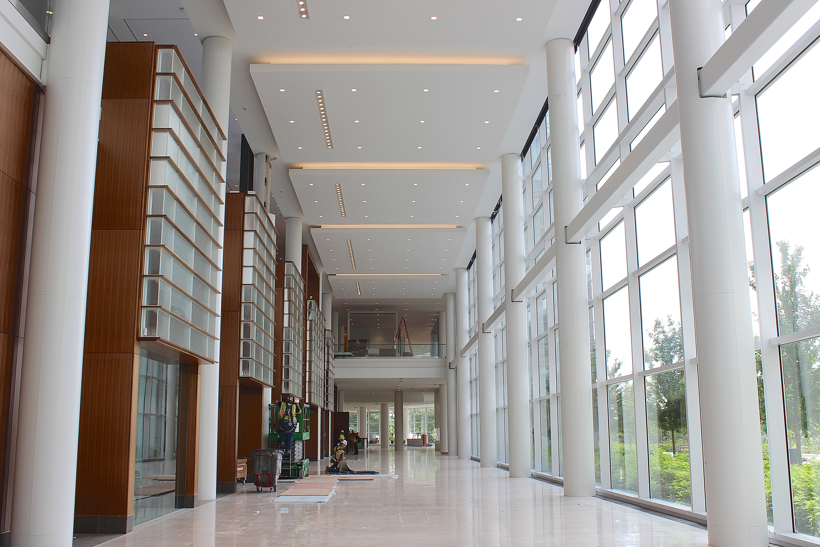 The abundant natural light pouring into the Northwestern Mutual Commons is integral to the building's design.