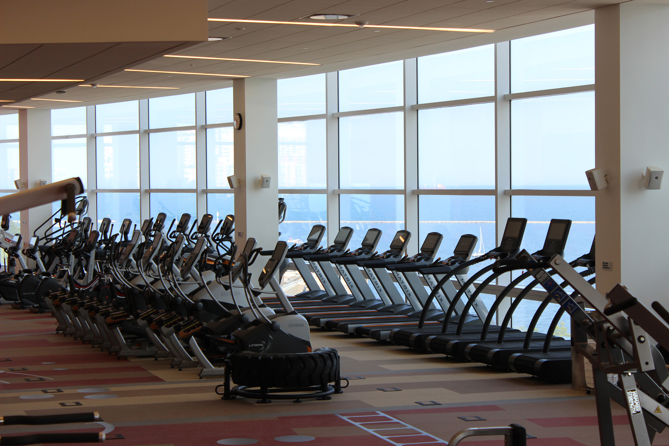 The Fitness Center is available to all employees and includes more than 40 pieces of new cardio equipment, strength training equipment, weights, two group fitness rooms, a spin studio and locker rooms.