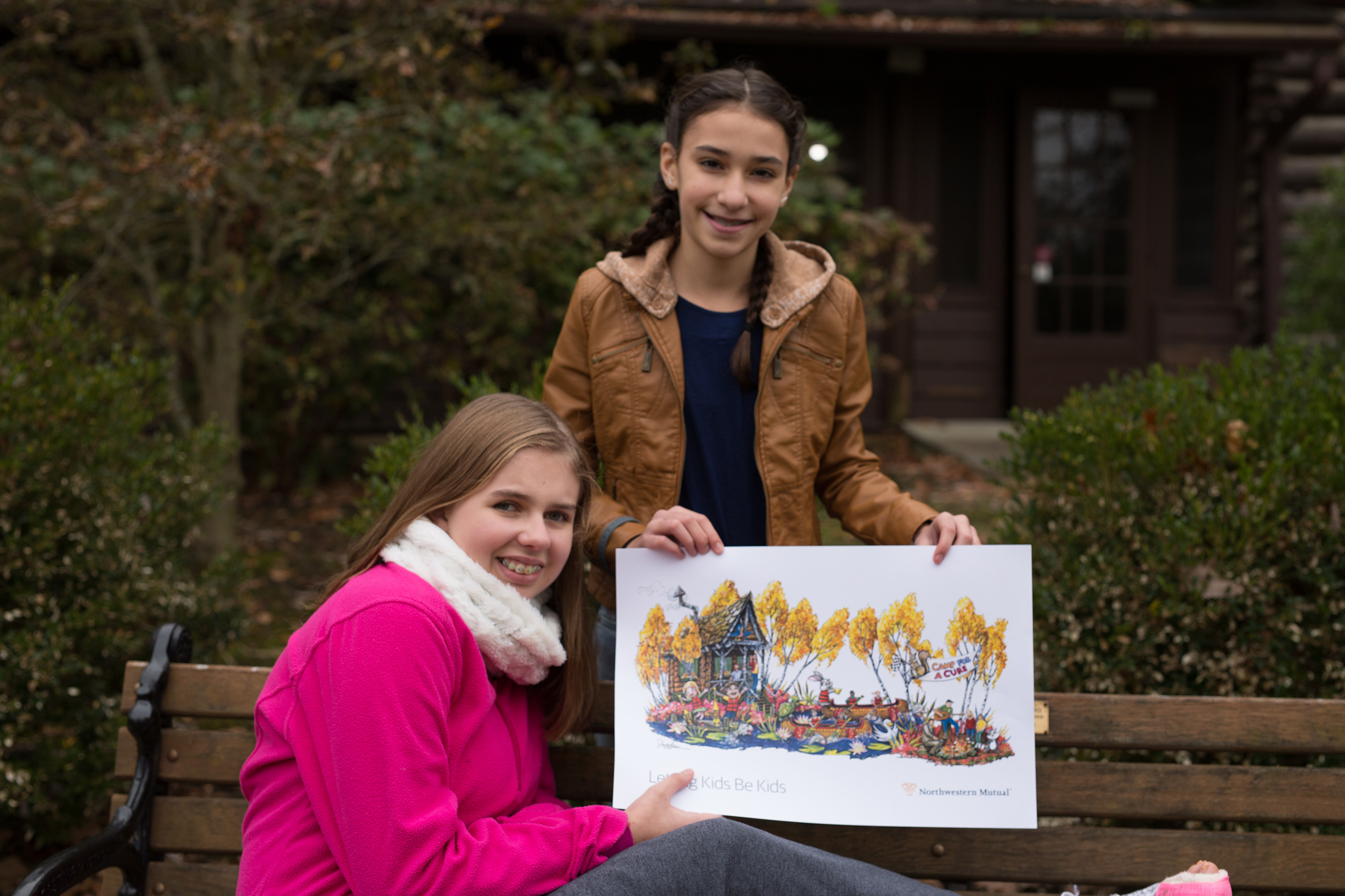 Mary Perkins, 14, is a childhood brain tumor survivor. Mary and Nina Freidline, 12, her cousin and best friend, will ride Northwestern Mutual's float in the 2018 Rose Parade®.