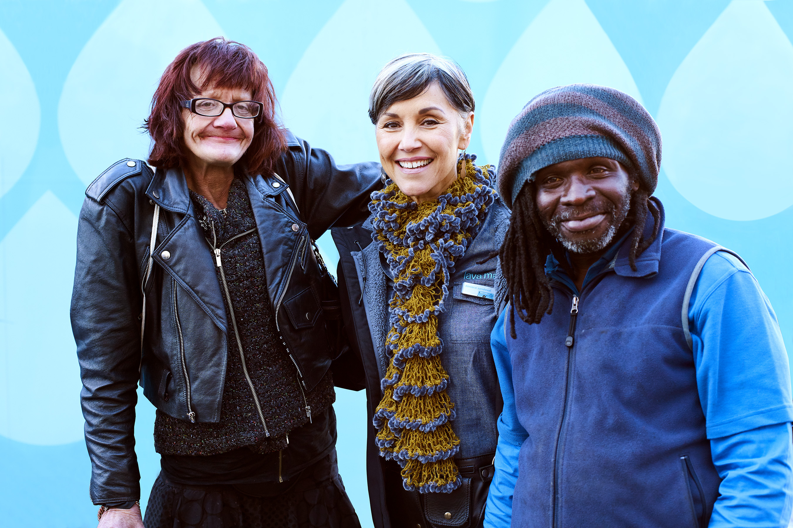 KIND People Grand Prize Winner and Lava Mae founder, Doniece Sandoval, with homeless guests at a pop-up care village in San Francisco