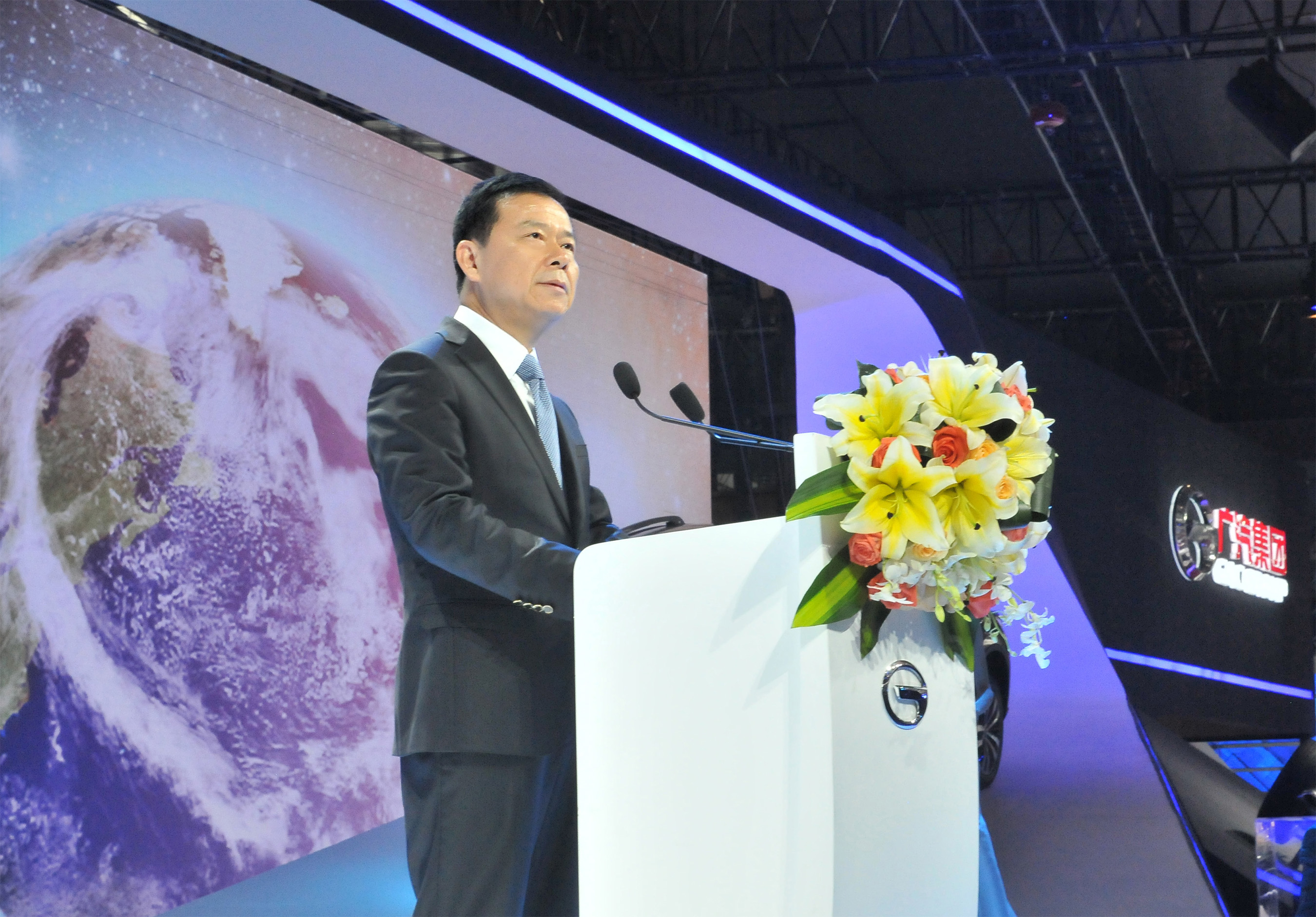 Zeng Qinghong, president of GAC Motor gave his speech at Guangzhou Auto Show