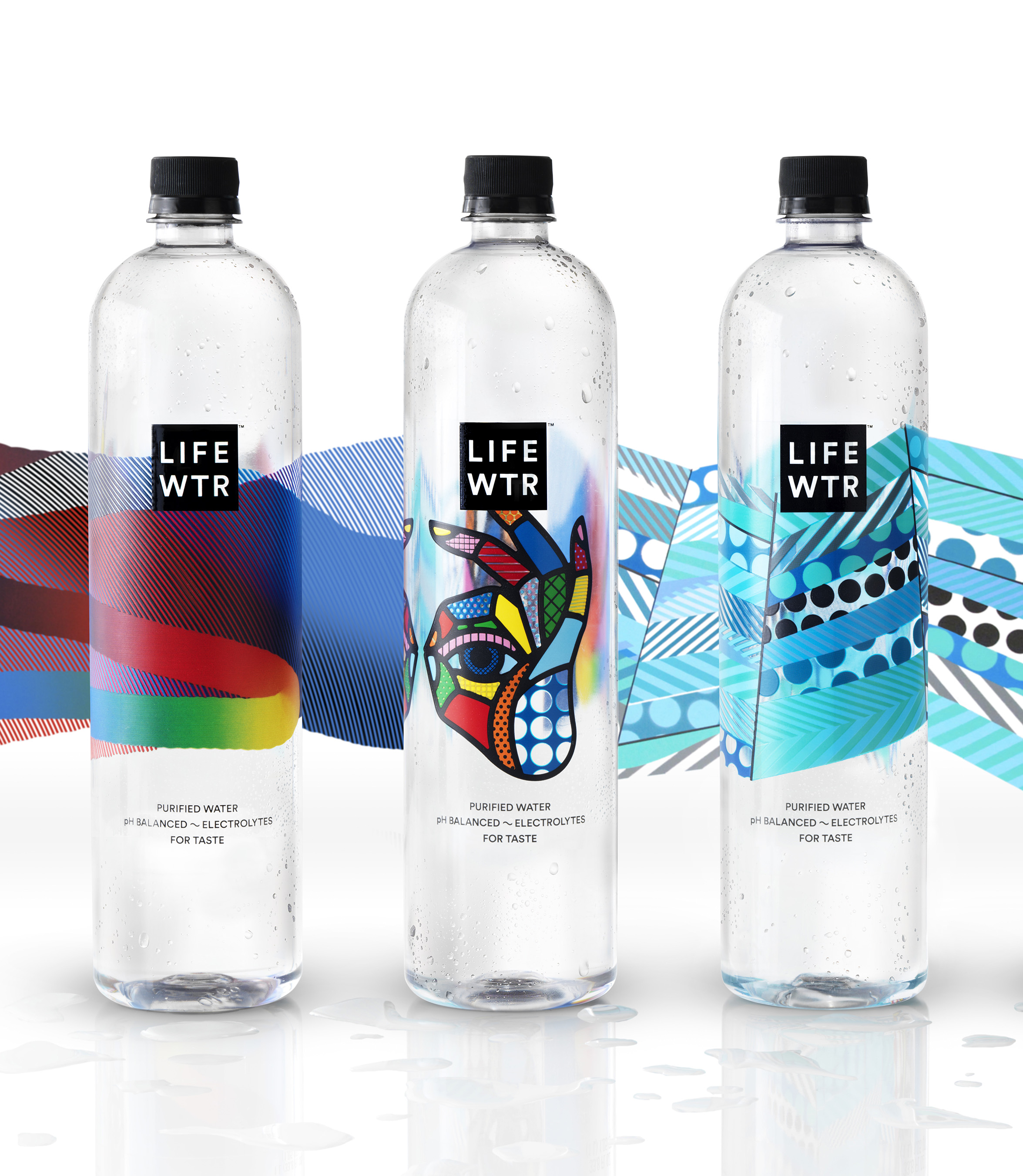 LIFEWTR from PepsiCo, a premium bottled water, fuses creativity & design to serve as a source of inspiration & hydration. The Series 1 artists are (bottles L-R): MOMO; Craig & Karl; Jason Woodside.