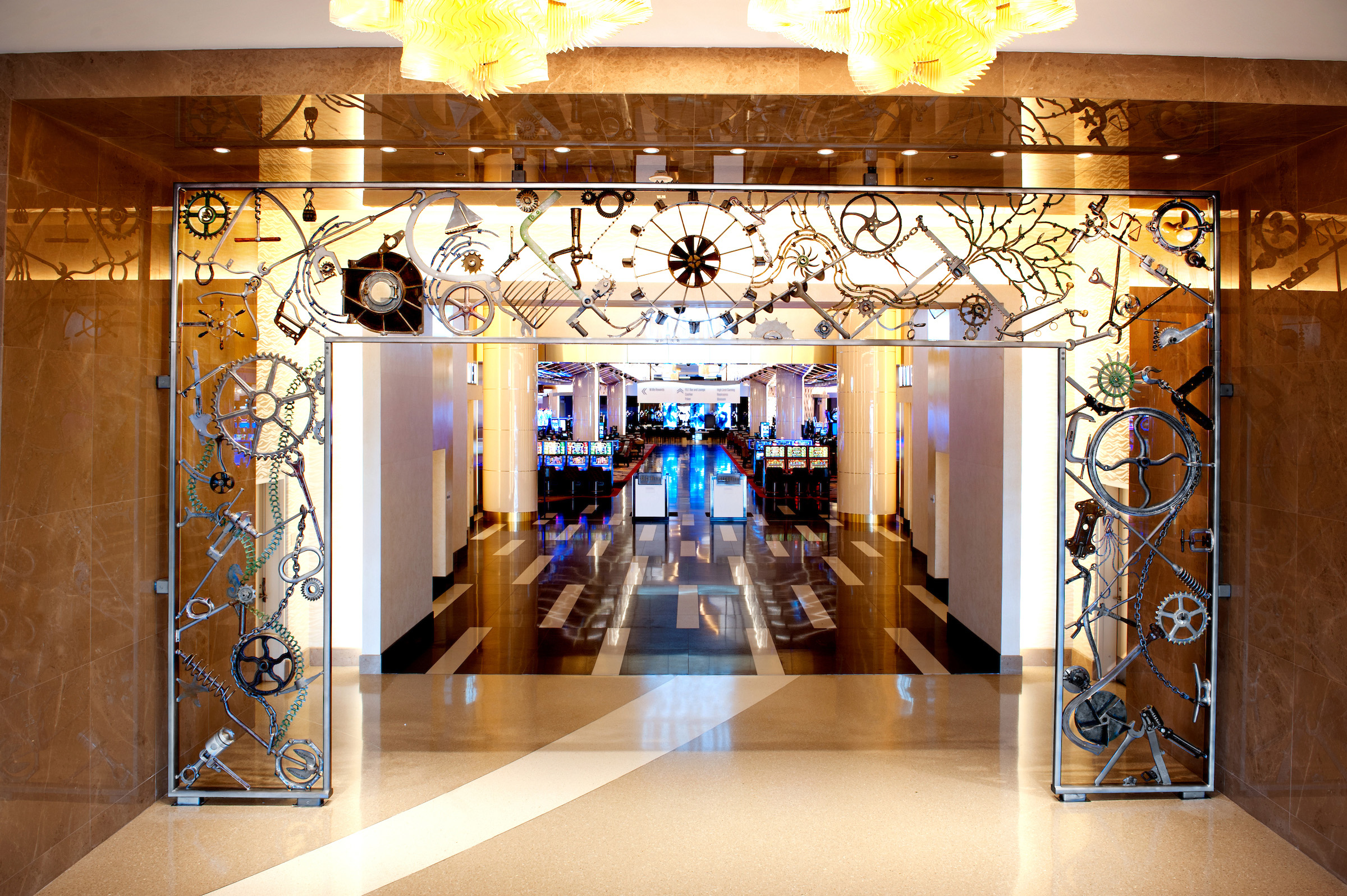 """Portal,"" a sculpted iron archway designed by legendary folk artist Bob Dylan for MGM National Harbor, is his first permanent display of public art."