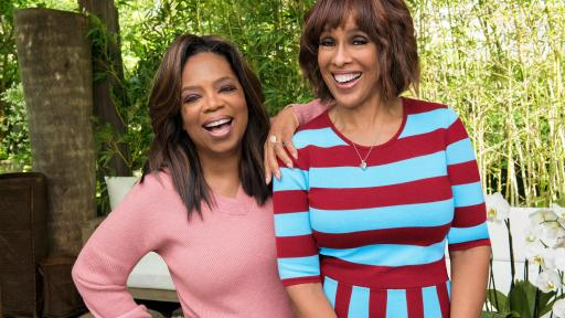 Oprah Winfrey and Gayle King together in a bamboo garden