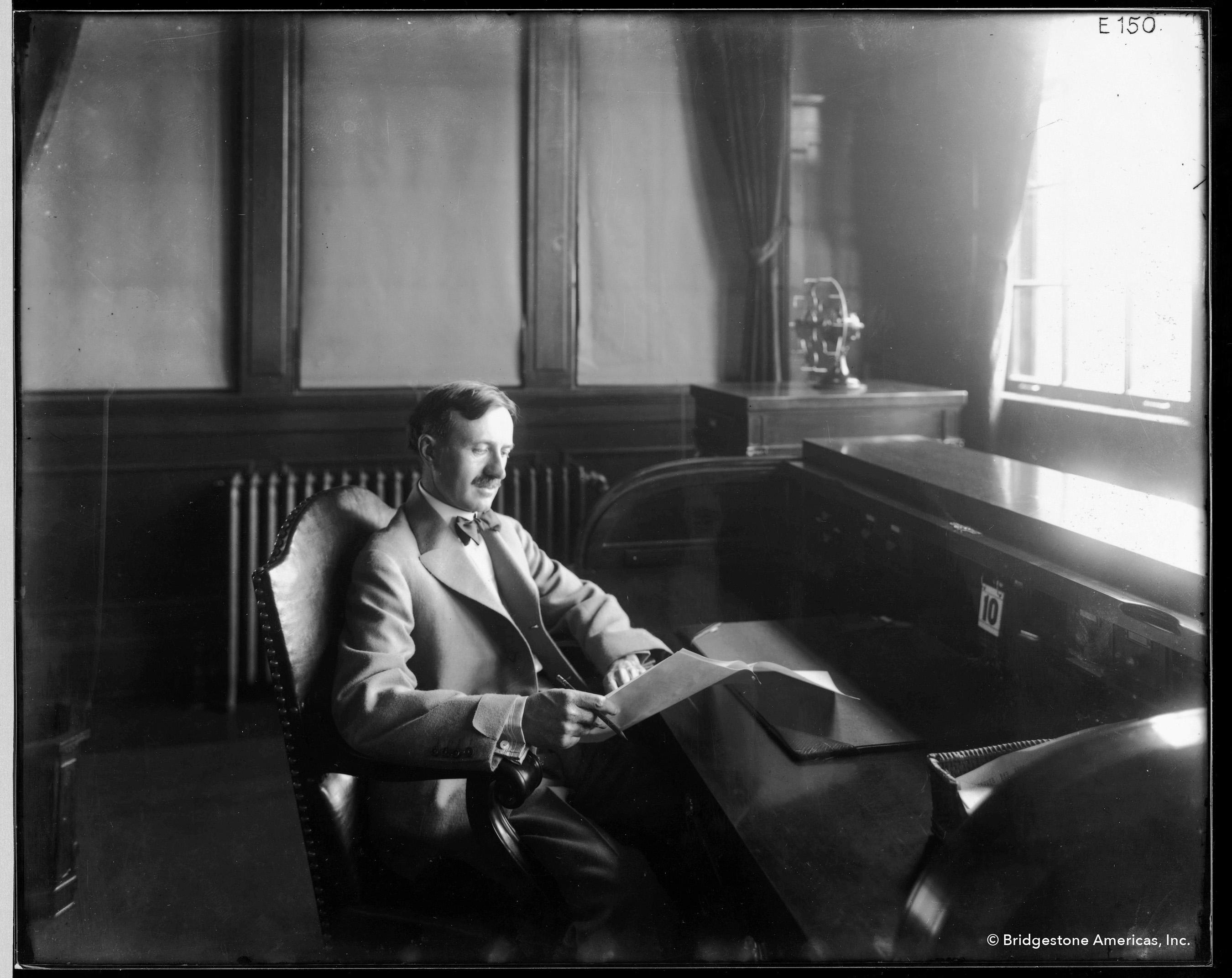 Harvey S. Firestone at his desk, date unknown.