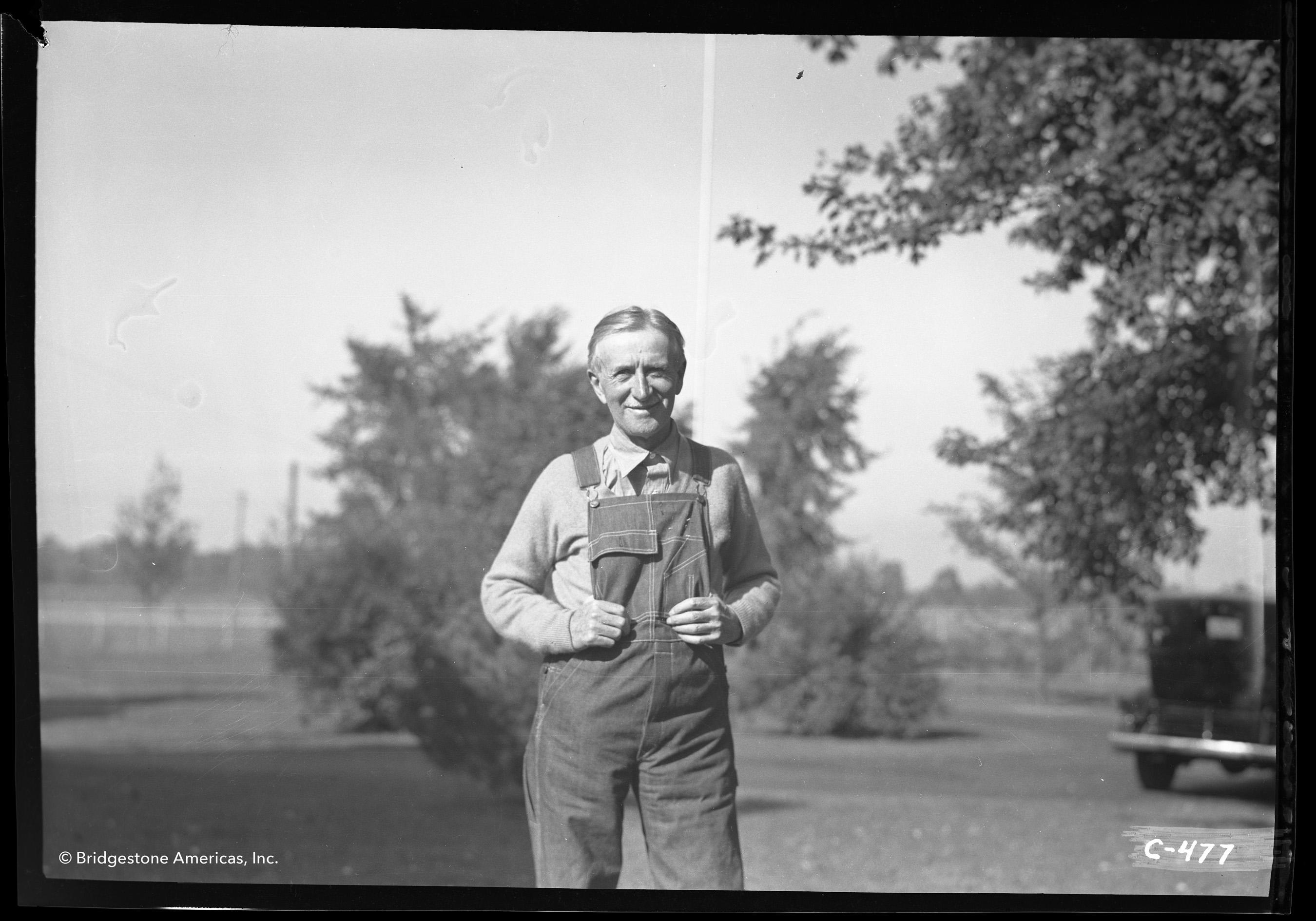 Harvey S. Firestone at his farm in Columbiana, Ohio, in 1935.