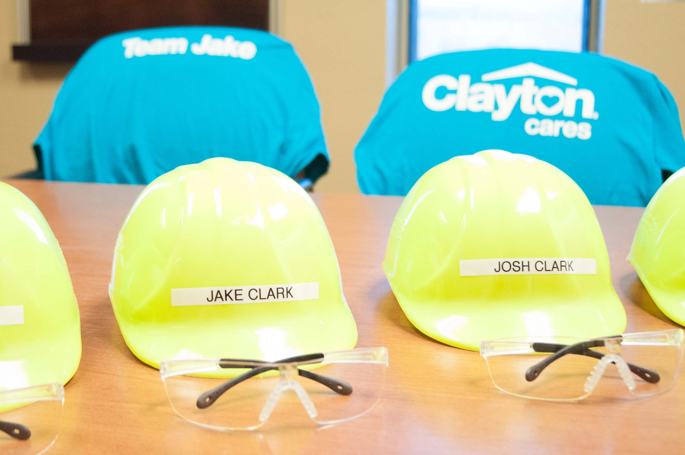 Jake and his family received personalized safety helmets and t-shirts to enjoy their personalized visit to the Clayton Bean Station building facility.