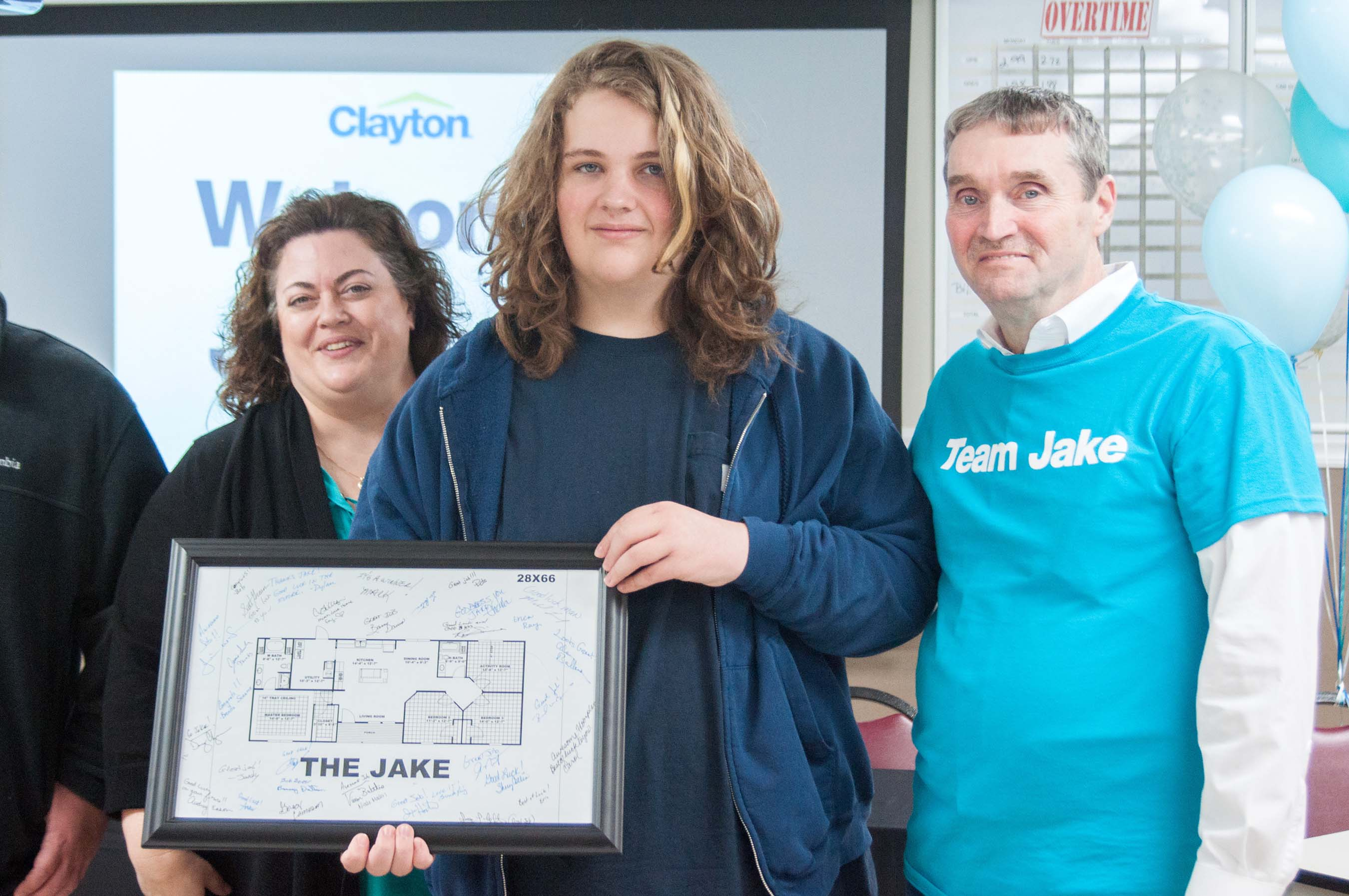 """The Jake"" home blueprint was printed and signed by the Clayton team for Jake to remember his visit to the Clayton building facility."