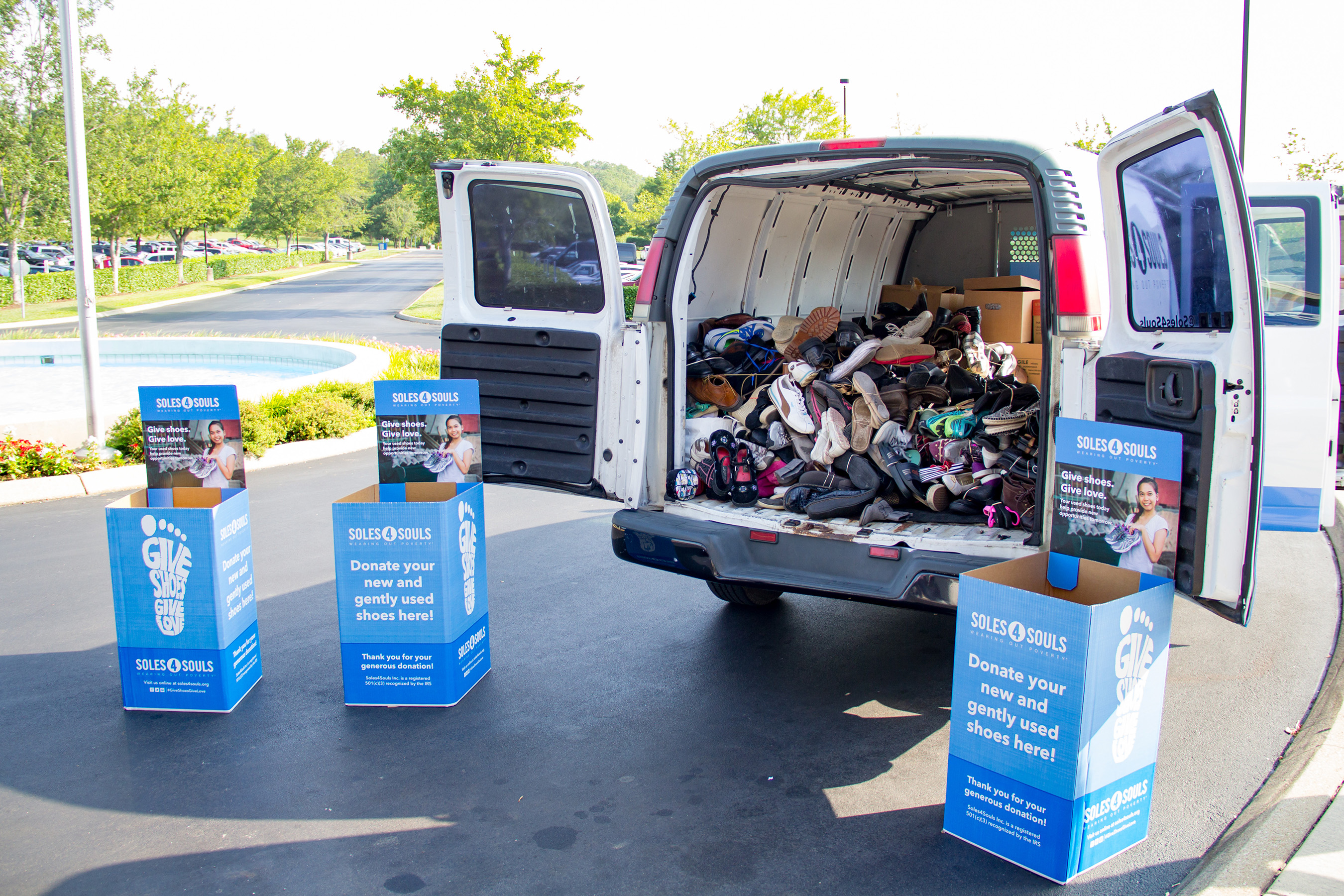 Clayton home office team members donated nearly 2,000 pairs of shoes to Souls4Souls