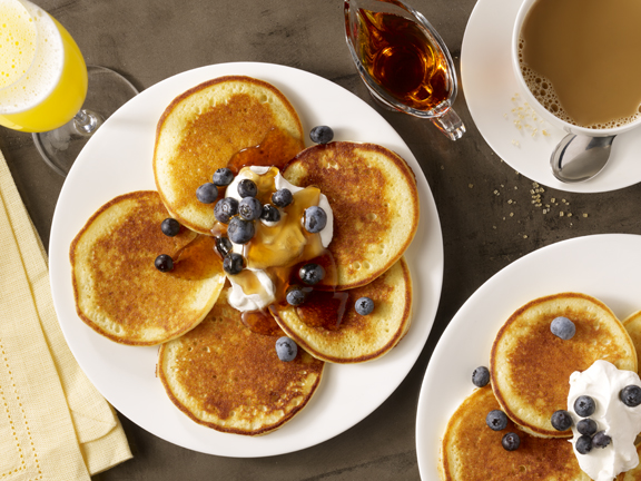 Maggiano's chefs make the Lemon Ricotta Pancakes fresh daily in-house. They are served with whipped cream, maple syrup and fresh blueberries