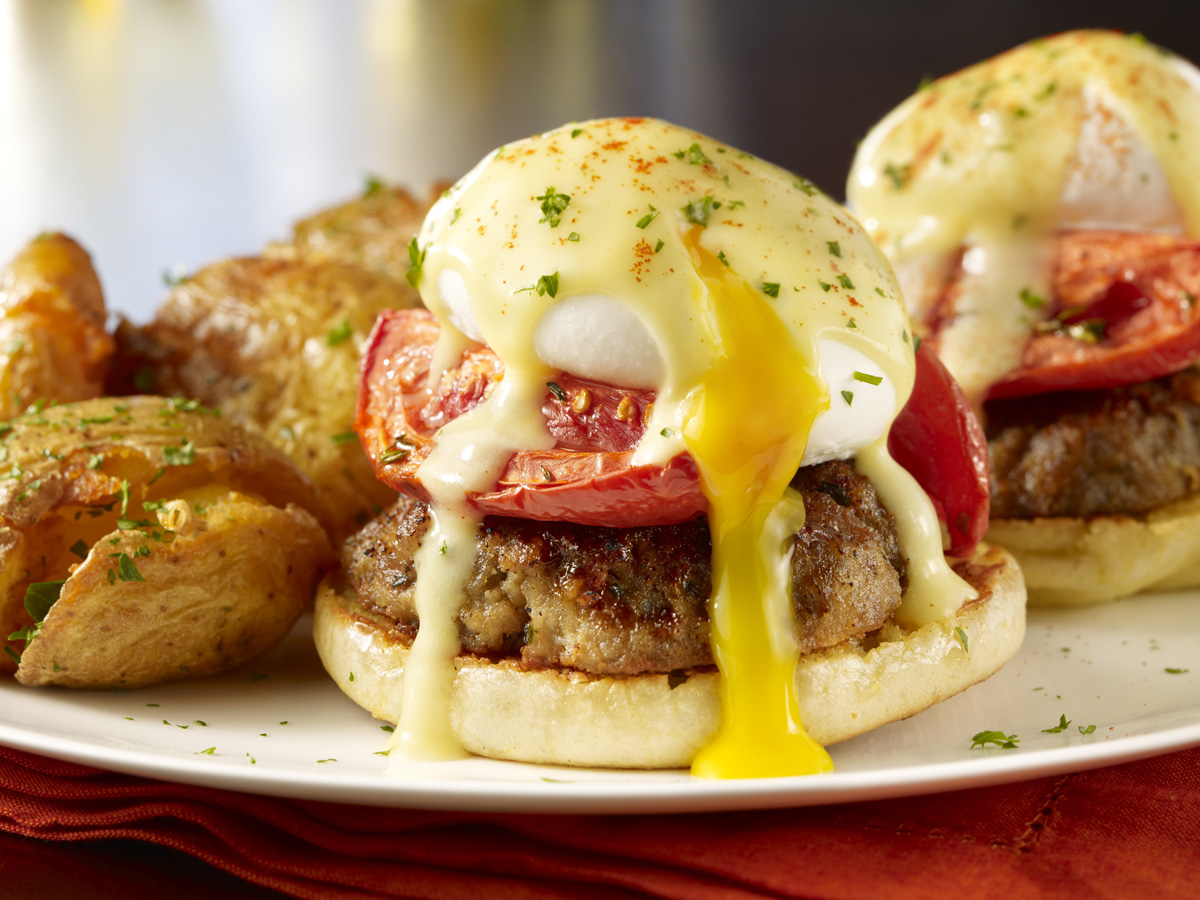 Maggiano's enhances the classic eggs benedict by adding an Italian-American twist, creating The Meatball Benedict