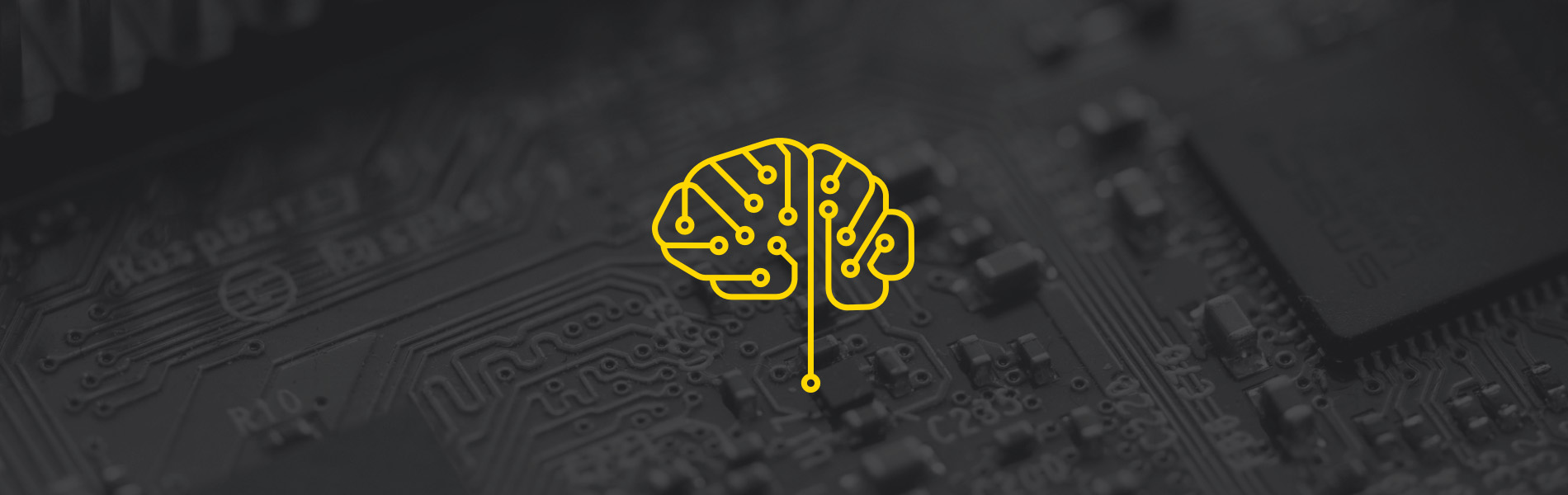 Image of a yellow stylized brain made from circuits with a black computer board background.