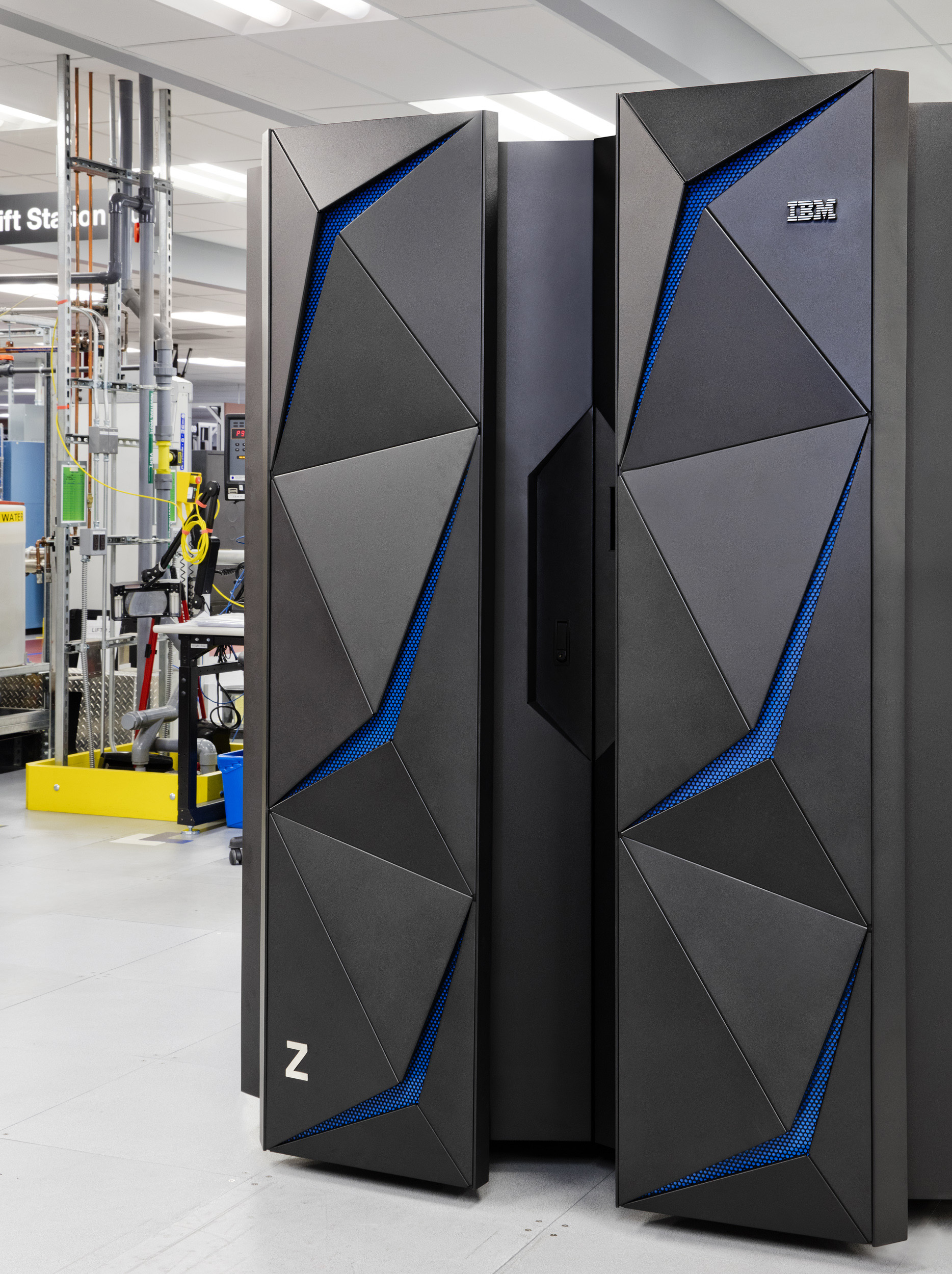 The IBM Z mainframe is a breakthrough in data protection technology designed to tackle the epidemic of data breaches. Contact: Lori Bosio, IBM, bosiol@us.ibm.com 914-765-2367 (Photo Credit: Connie Zhou for IBM)