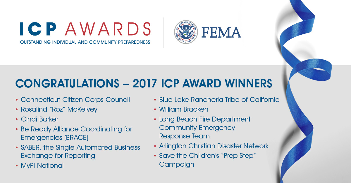 FEMA honors these 11 individuals and organizations who excel at inspiring the public to be ready if a disaster were to strike their community.