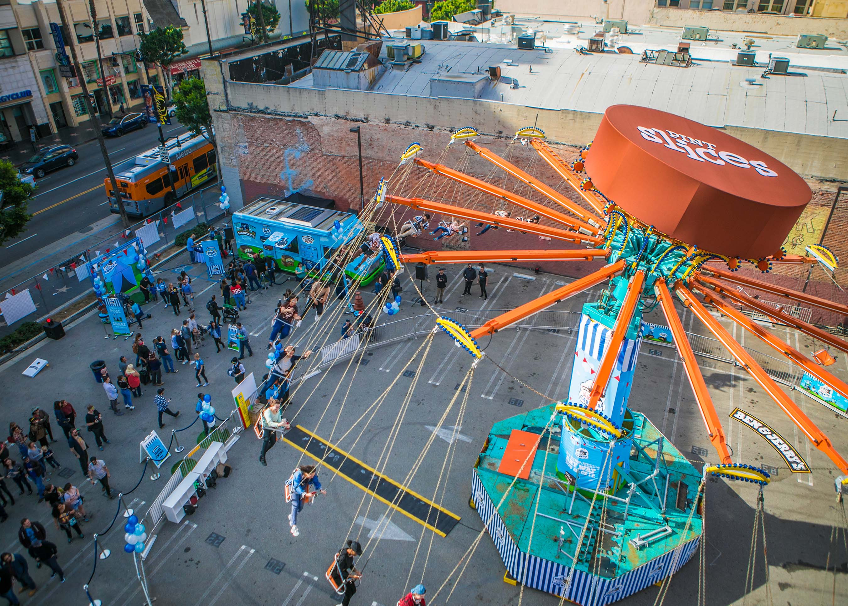 Ben & Jerry's pint slice carnival is underway at the corner of Hollywood & Vine on Jan 16th from 11am-8pm.