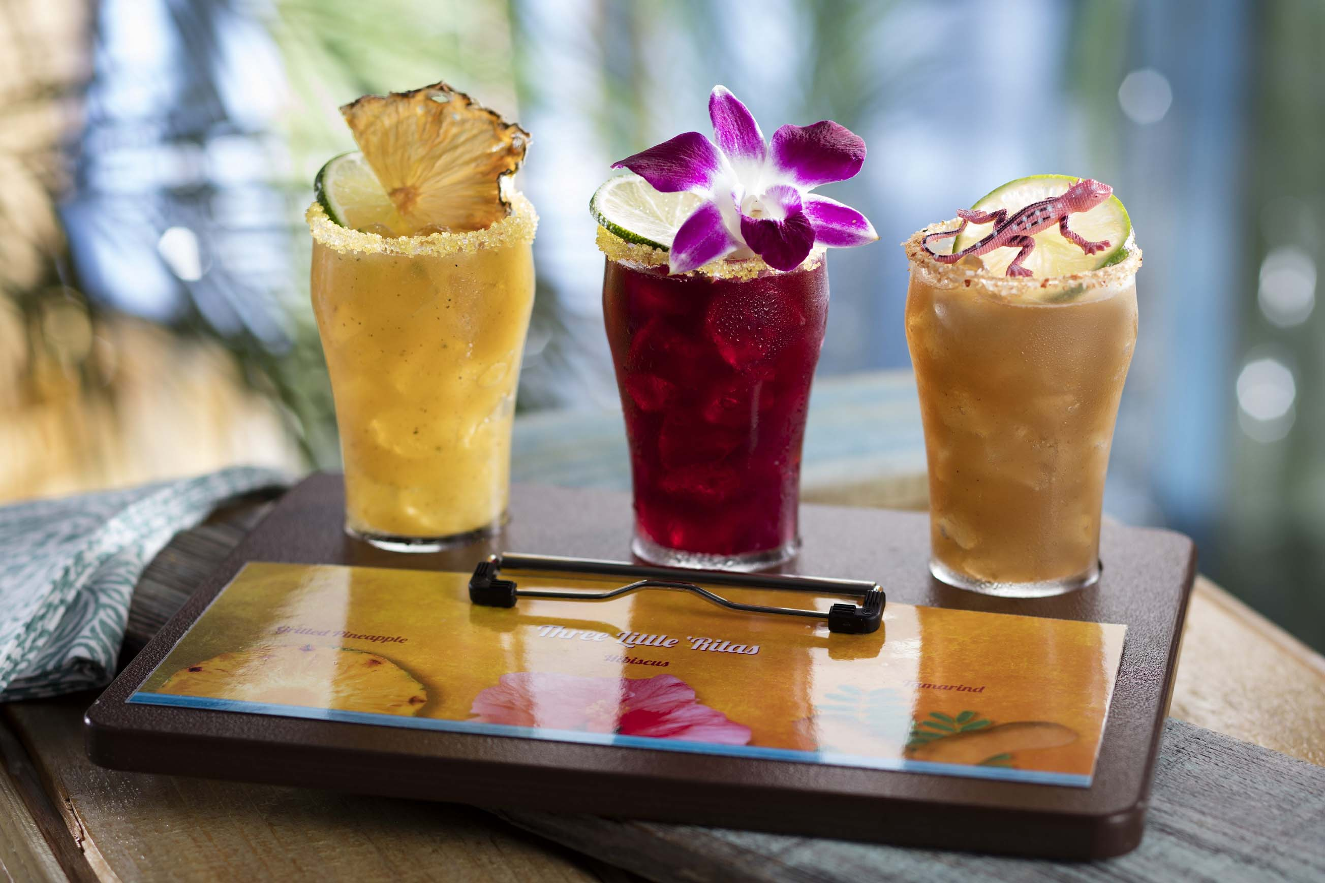 Can't choose? Enjoy three different margaritas: Grilled Pineapple, Hibiscus and Tamarind.