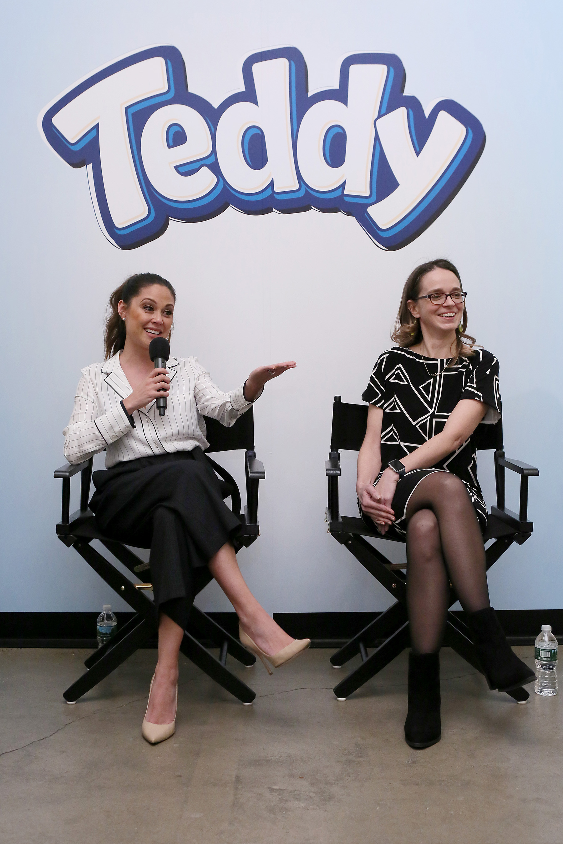 Vanessa Lachey, right, talks snacks and parenting with Dr. Elizabeth Waters on a TED Sessions panel at the TEDDY Soft Bakes launch at the Children's Museum of the Arts on Wednesday, Feb. 15, 2017, in New York City. (Stuart Ramson/AP Images for Mondelez International)