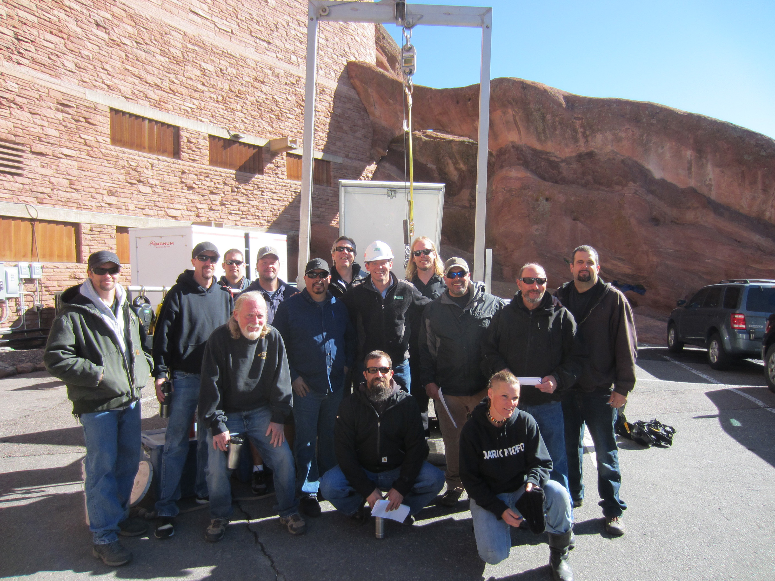 The Red Rocks Amphitheatre staging crew in Morrison, CO after fall protection training performed by MSA safety expert, Justin Sweney.