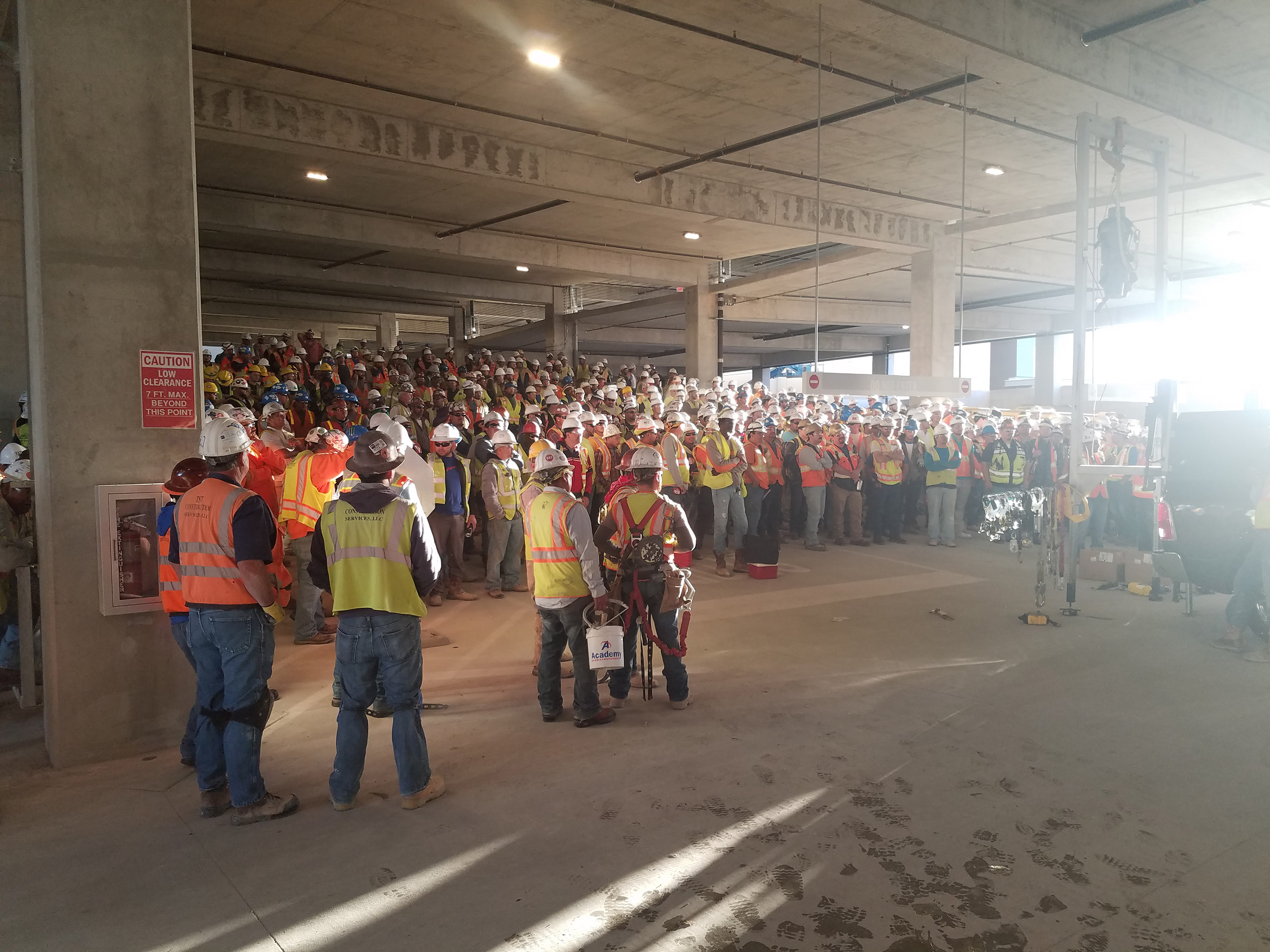 MSA safety expert, Miguel Campos, performs fall protection training for 500+ employees from Manhattan Construction at Omni Hotel & Retail in Frisco, TX.