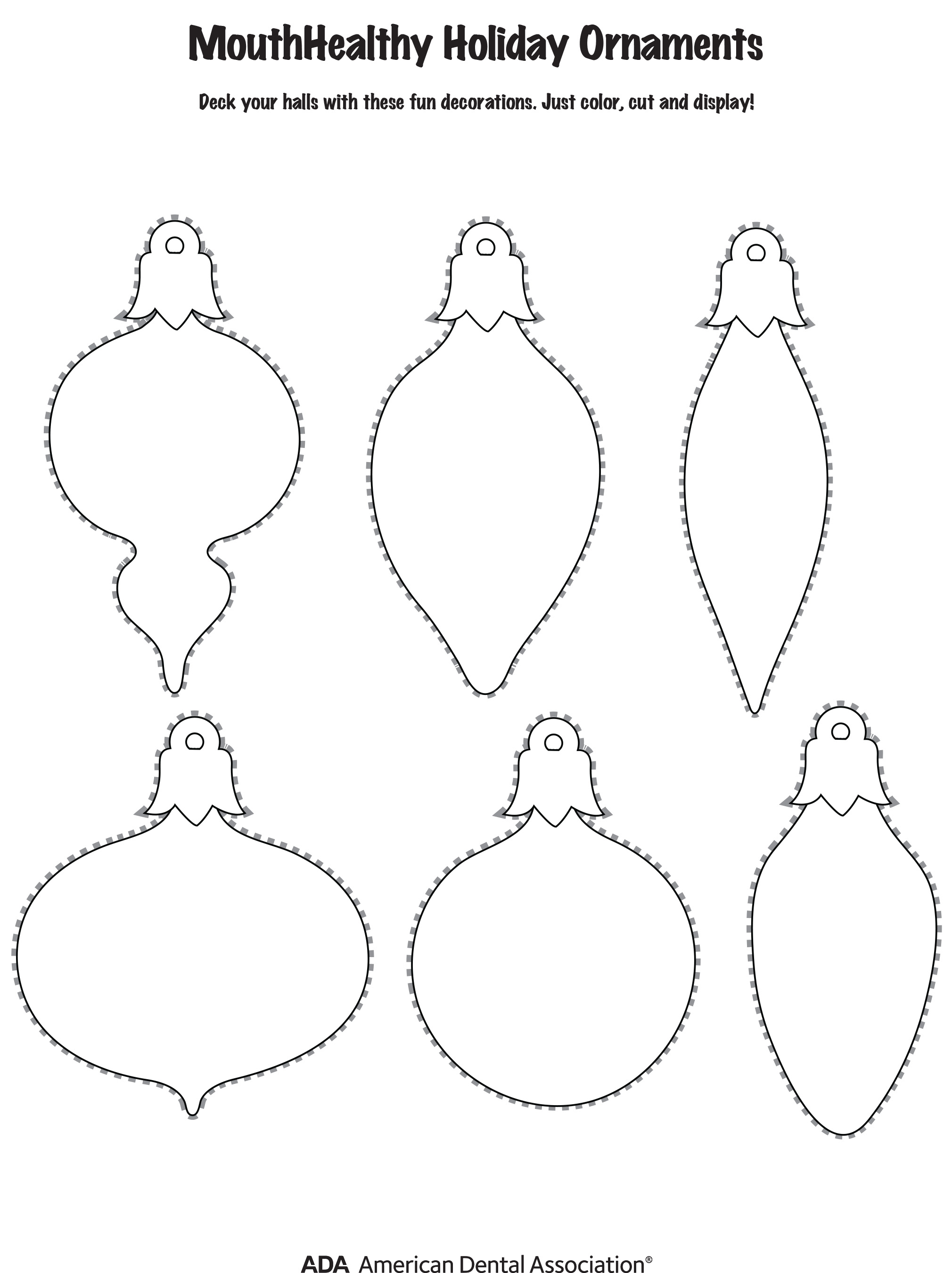 MouthHealthy Holiday Ornaments Template