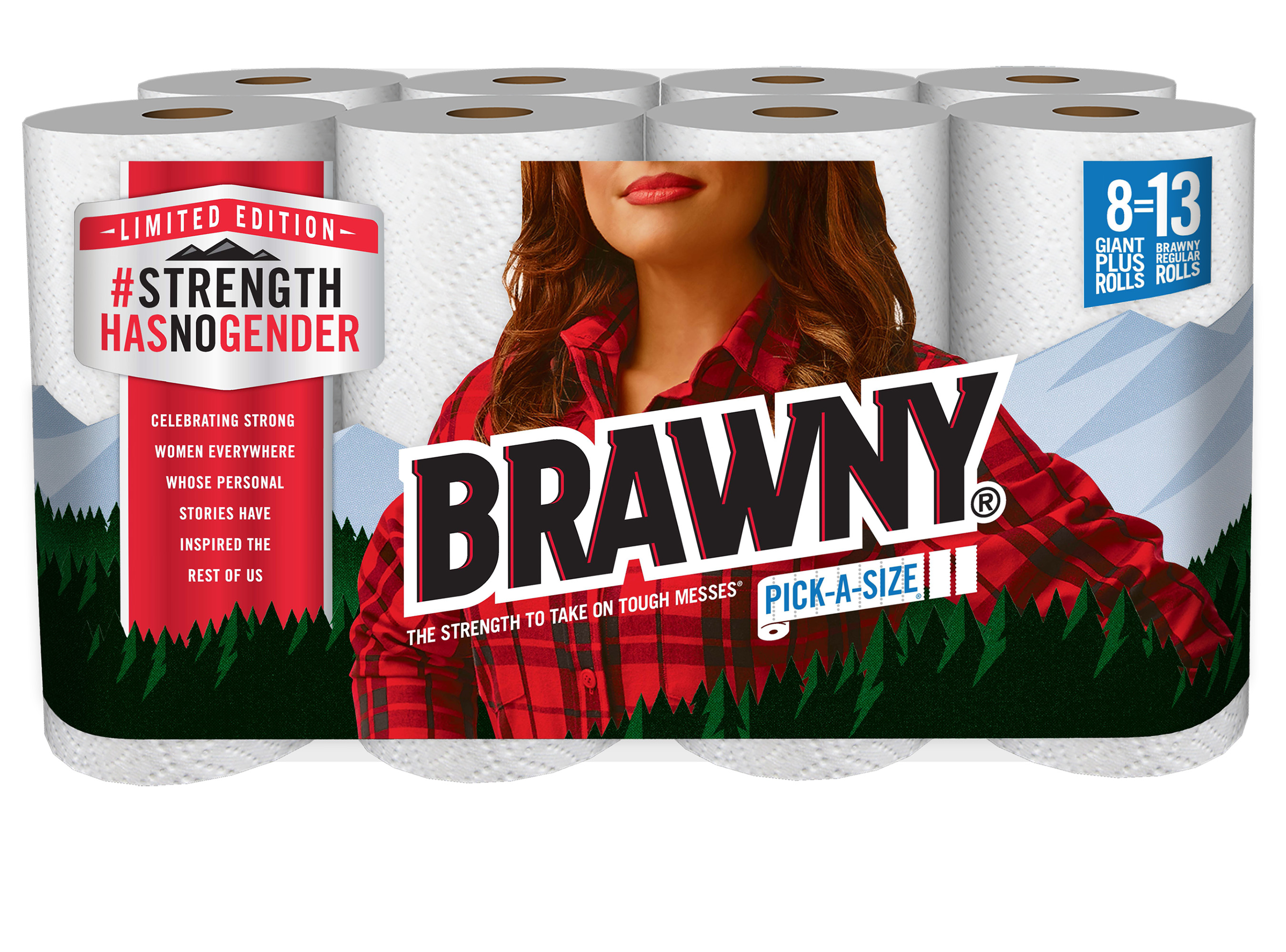 A limited edition package featuring a woman in place of the iconic Brawny® man for the first time ever. The commemorative package is available at Walmart during Women's History Month.