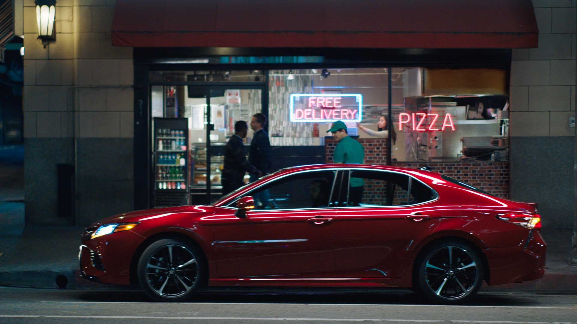 Strut, illuminates the emotional thrill while featuring the all-new Camry's jaw-dropping style on an unapologetic joy ride to pick up a pizza. Strut also incorporates a high-energy music track that complements the proud feeling portrayed in the story.