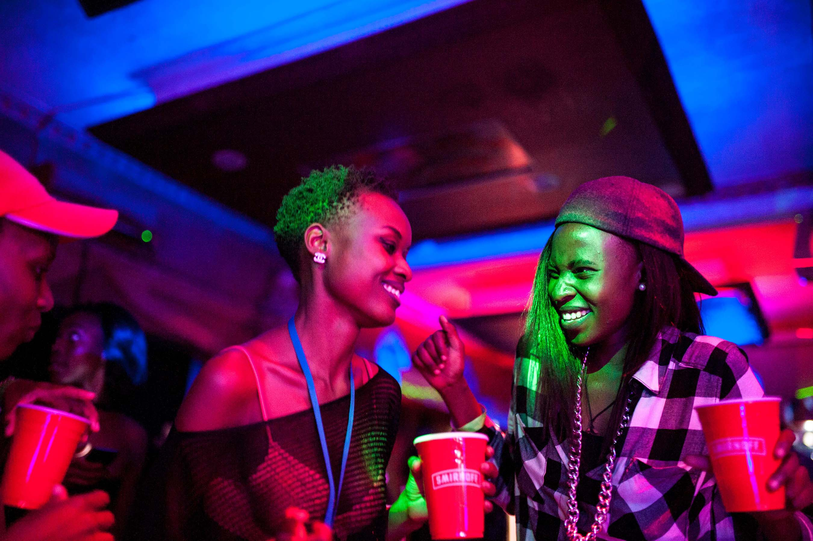 "Partygoers dance to DJ Rachael's music while filming ""SMIRNOFF: Equalizing Music"" in Uganda"