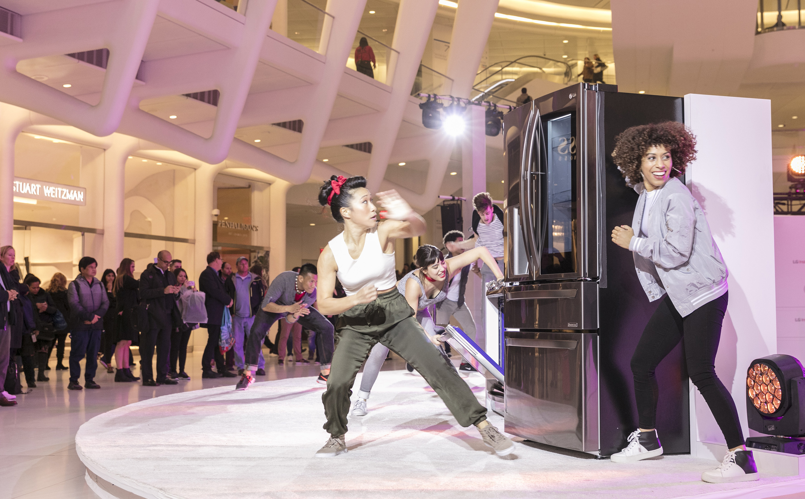 LG Electronics celebrated the expansion of its InstaView Refrigerator line at an event on March 7, 2017 at The Oculus in New York by transforming appliances into musical instruments and bringing a series of surprise musical and dance performances to thousands of consumers at one of the nation's busiest transit and shopping hubs. LG InstaView refrigerators allow users to knock twice to illuminate a glass panel and see inside the refrigerator without opening the door. The performances began with two quick knocks on the refrigerator, triggering original musical renditions of pop songs produced by Andrew Huang, a music producer known for creating sounds with non-traditional instruments.