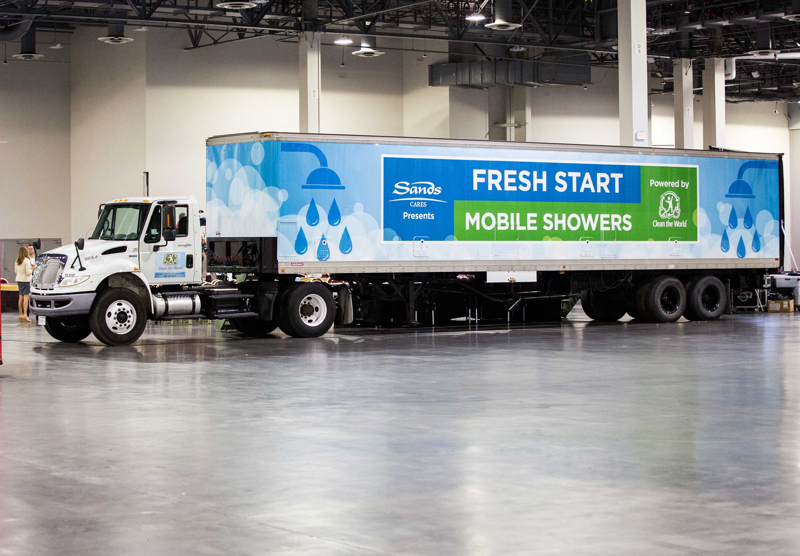 On July 27, Las Vegas Sands and Clean the World introduced a new hygiene service for the homeless in Las Vegas with Fresh Start Mobile Showers, a traveling hygiene unit that visits locations serving the homeless to provide showers, hygiene supplies and other resources.