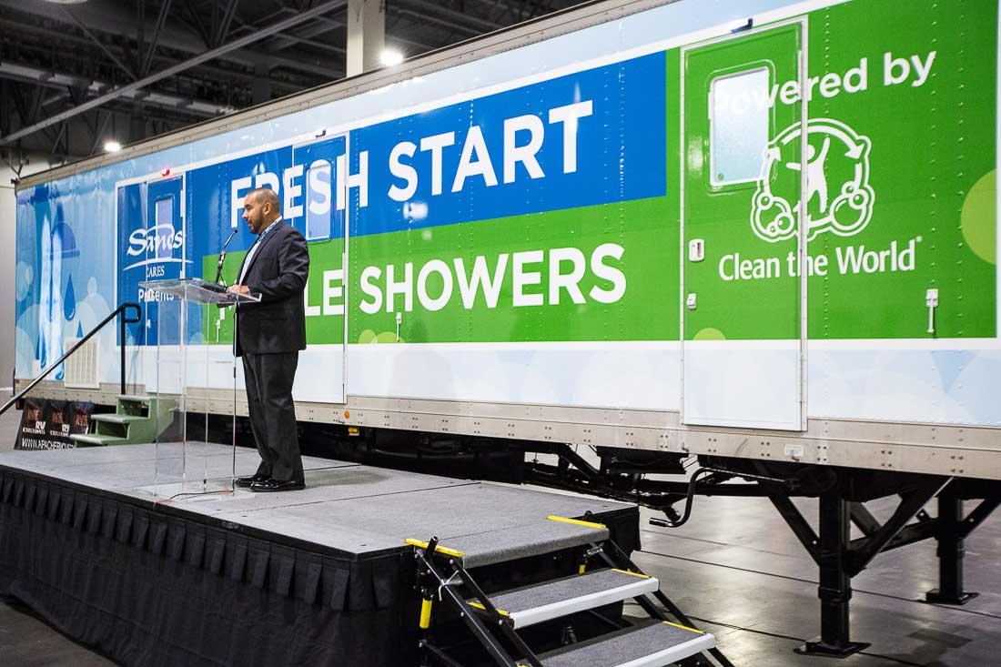 Fresh Start Mobile Showers, a new hygiene service for the homeless in Las Vegas was made possible by Las Vegas Sands and Clean the World. Fresh Start Mobile Showers will provide an estimated 250 showers per week to those who are homeless, along with hygiene supplies and access to other services.