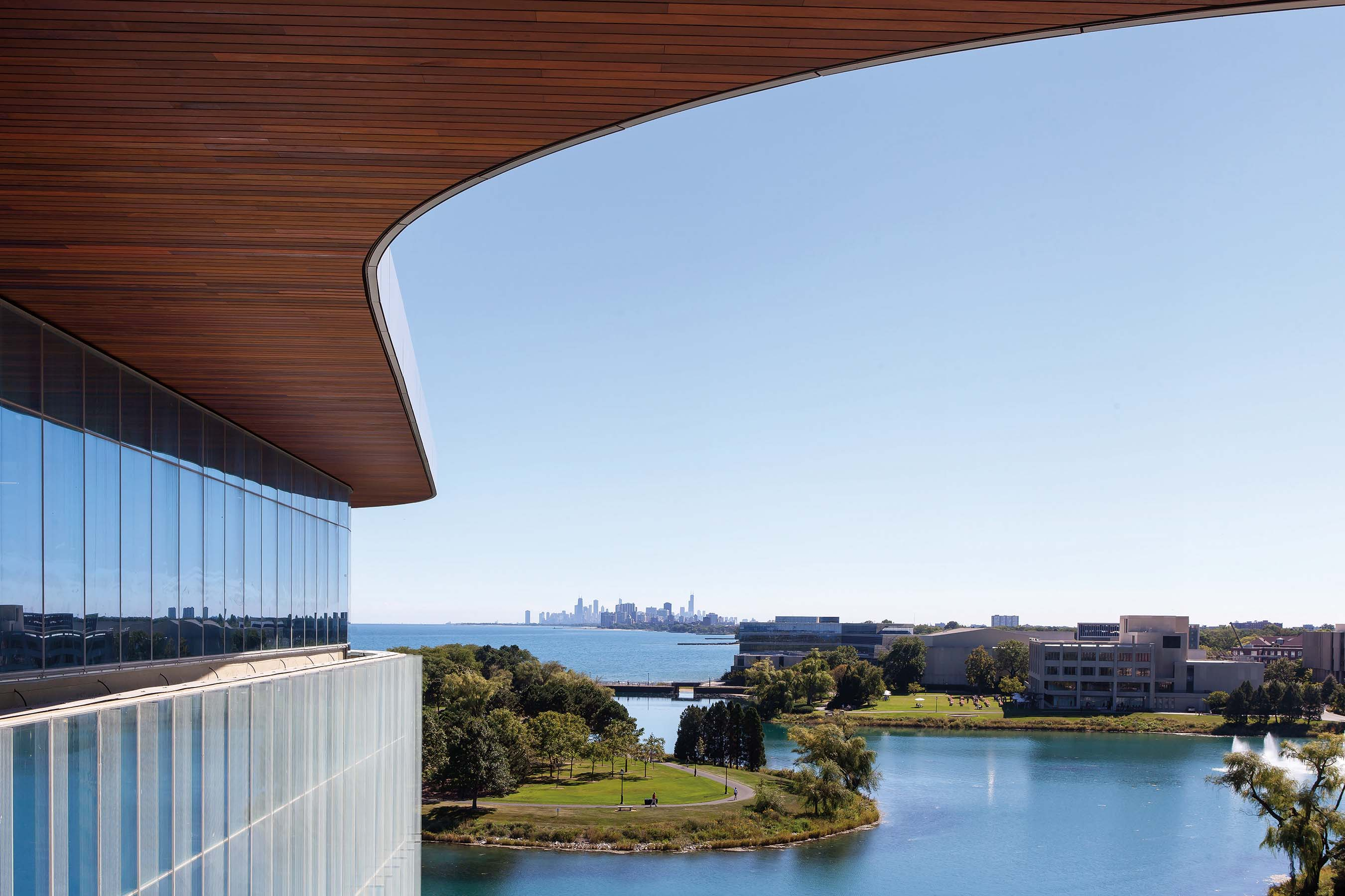 The building offers stunning views of Lake Michigan and the Chicago skyline.