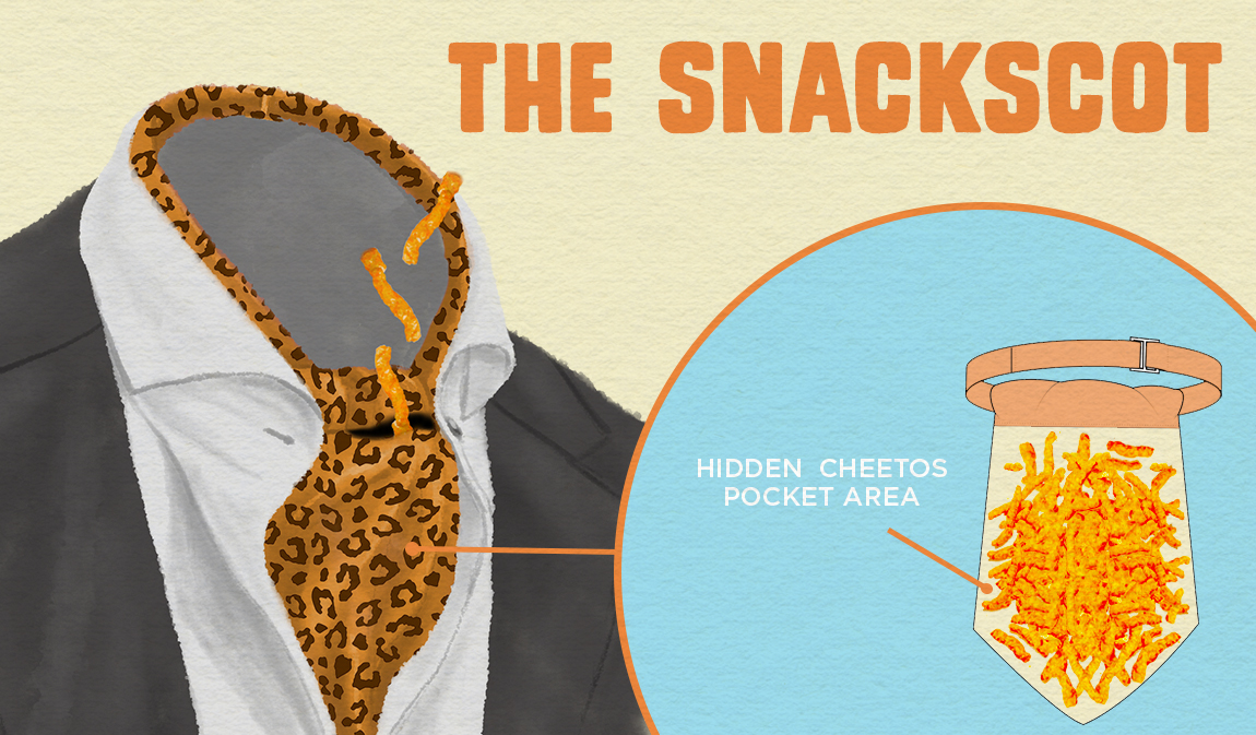 Ascots are for men with true fashion acumen. Worn in perfect proximity under your mouth the Snackscot features a pouch for storing Cheetos that makes it easy to snack between snapshots.