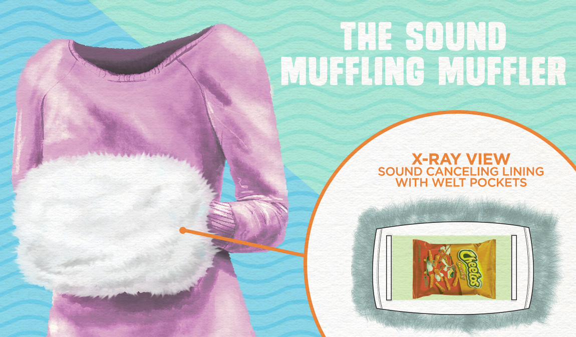 A fancy, faux fur hand muffler that does exactly what the name suggests - muffles the sound of the bag of Cheetos hidden inside.