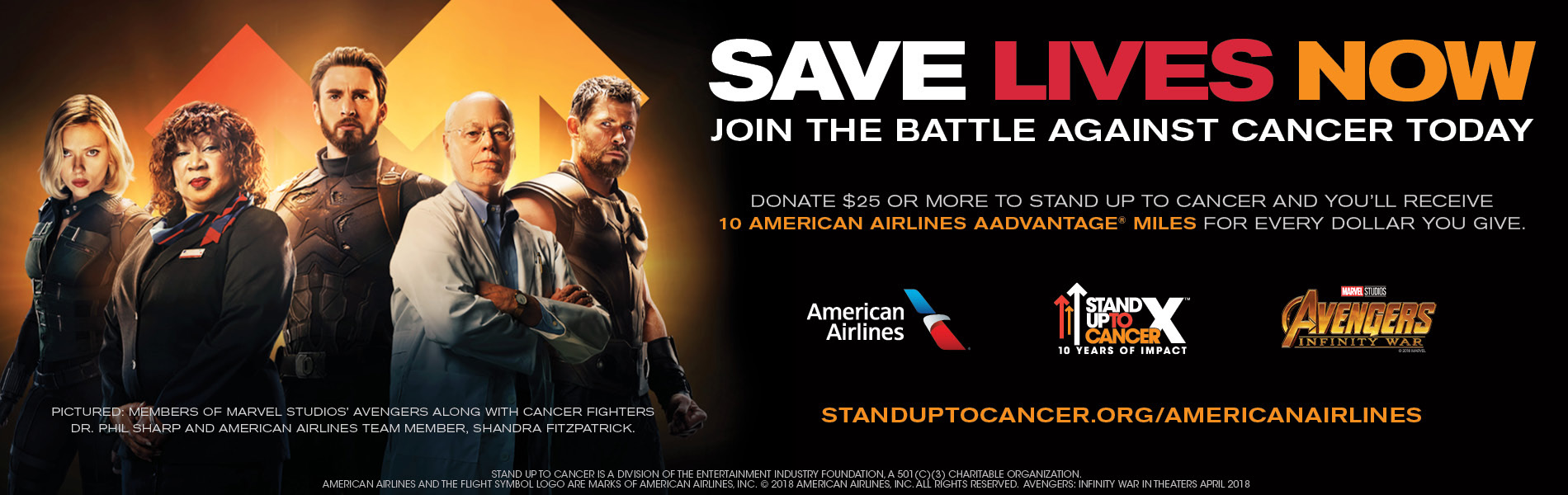 Image of Avengers. Text reads: Save Lives Now. Join the battle against cancer today