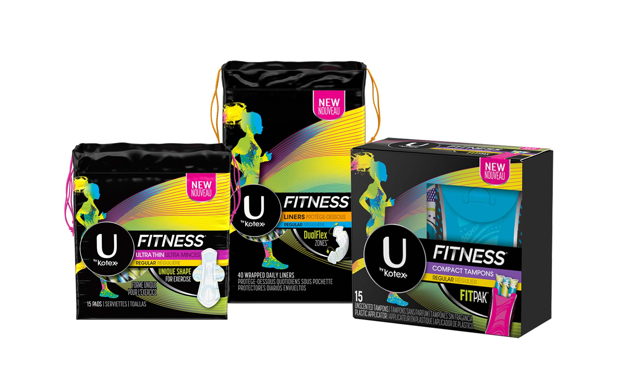 New products, including U by Kotex® FITNESS* Tampons with FITPAK*, U by Kotex® FITNESS* Liners and U by Kotex® FITNESS* Ultra Thin Pads, were designed to enable the spectrum of fitness goals.