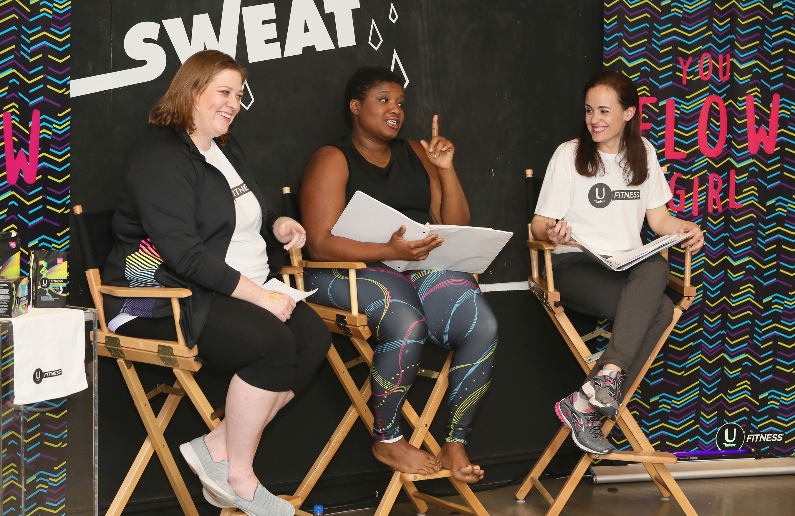 Yoga teacher and body positivity advocate Jessamyn Stanley, center, hosts a panel discussion with Melissa Jacobs, Senior Brand Manager for U by Kotex, left, and licensed clinical psychologist Dr. Elisabeth B. Morray, right, in New York City to celebrate the launch of the NEW U by Kotex® FITNESS* line on Thursday, April 27, 2017. (Stuart Ramson/AP Images for U by Kotex® FITNESS)
