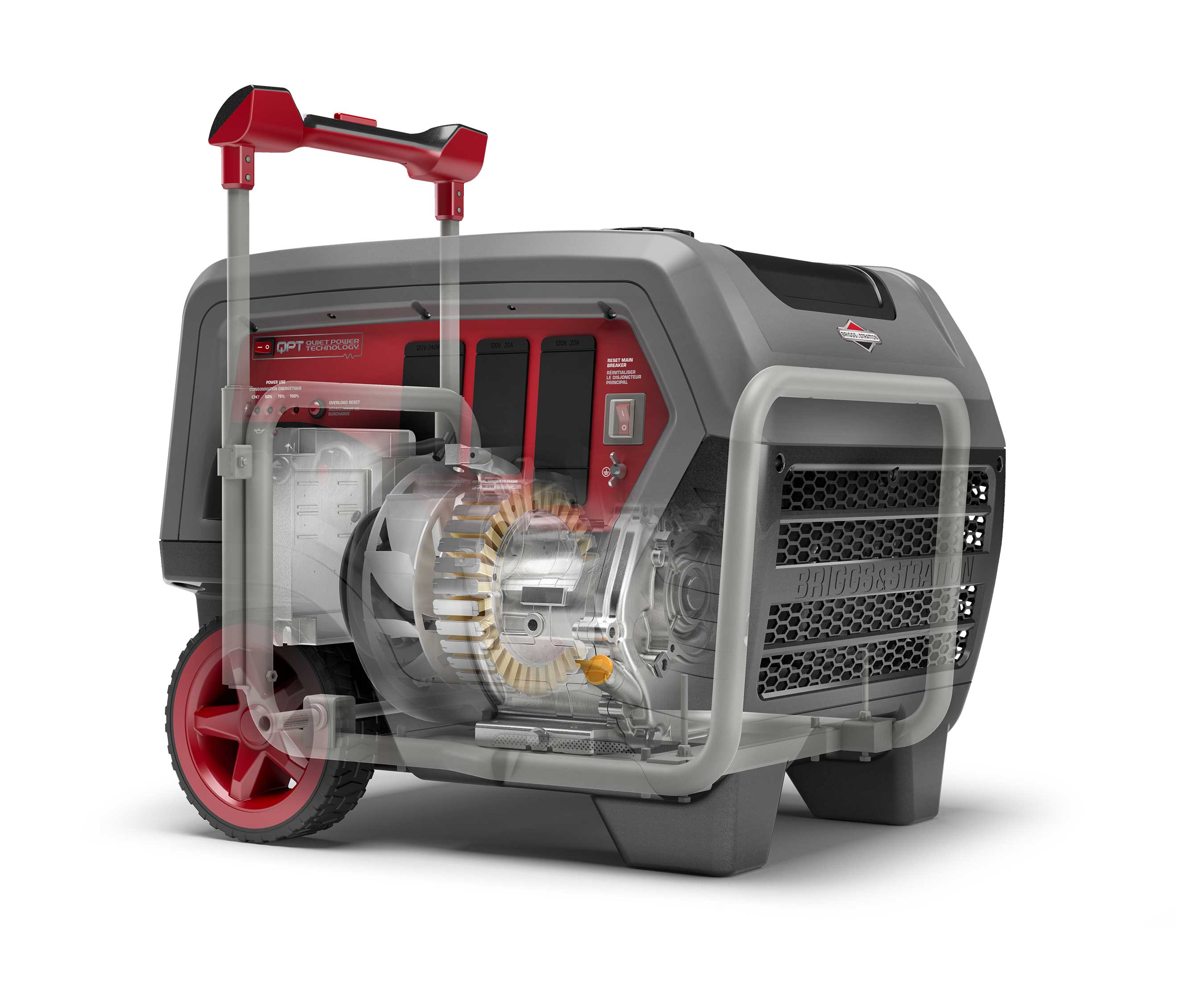 Briggs & Stratton's new Q6500 QuietPower™ Series inverter generator features a fully-enclosed protective shell that houses an all-steel frame, keeps internal components safe and minimizes noise.