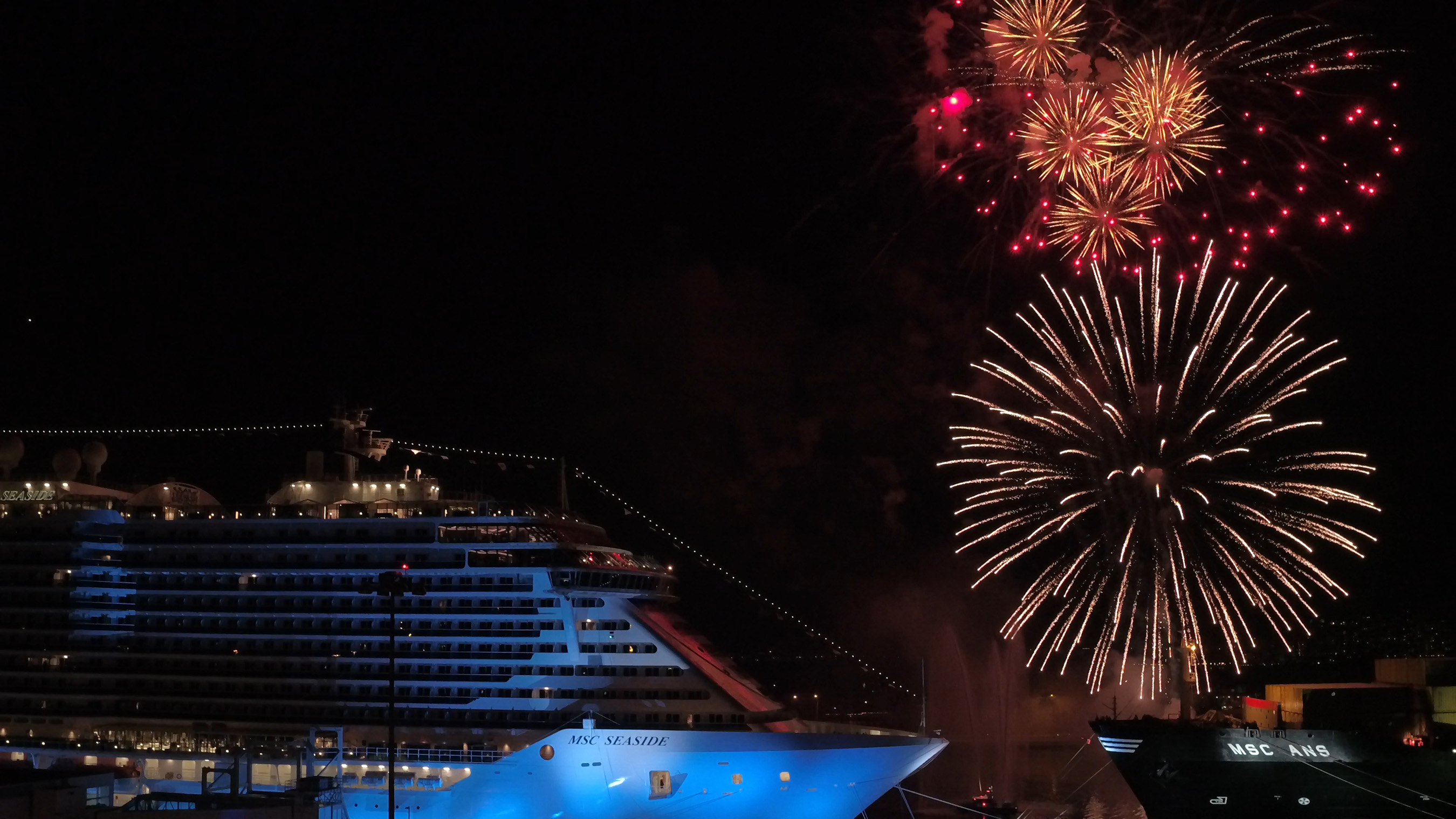 Fireworks erupt over Miami as the MSC Seaside is officially named.